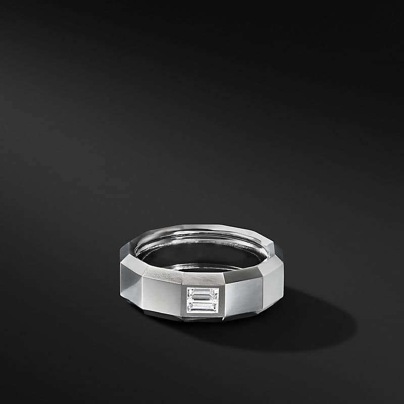 Faceted Band Ring in 18K White Gold with Diamond Baguette, 8mm