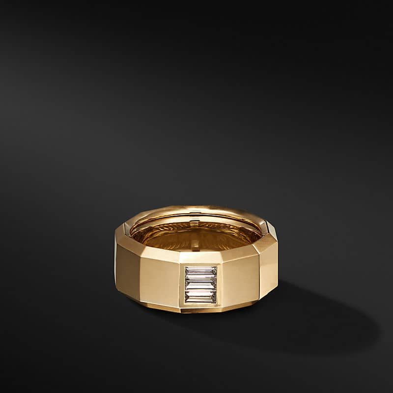 Faceted Band Ring in 18K Yellow Gold with Diamond Baguette, 10mm