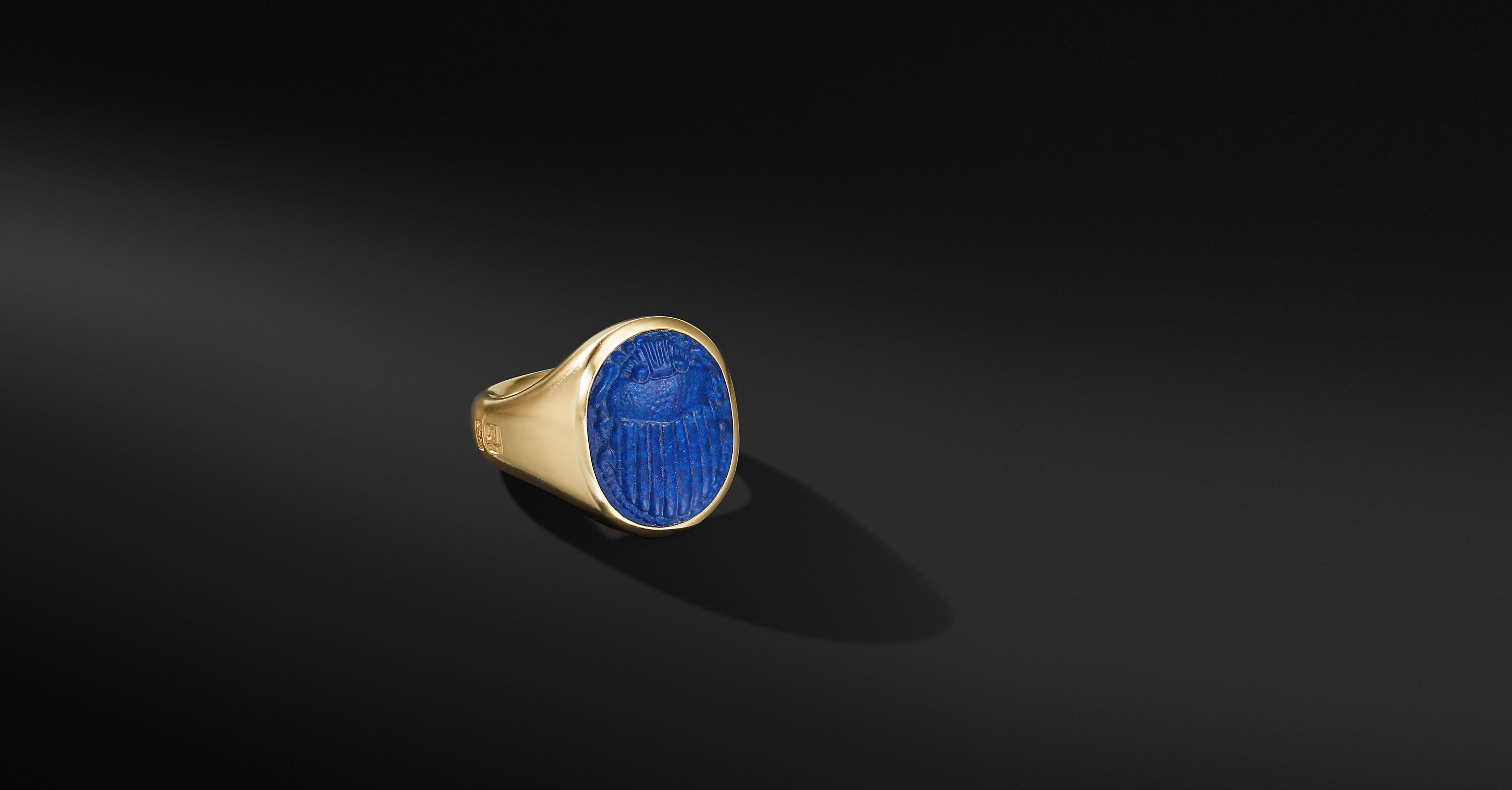 Petrvs Scarab Signet Ring in 18K Yellow Gold