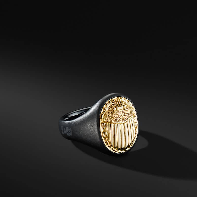 Petrvs Scarab Signet Ring with Black Titanium and 18K Yellow Gold