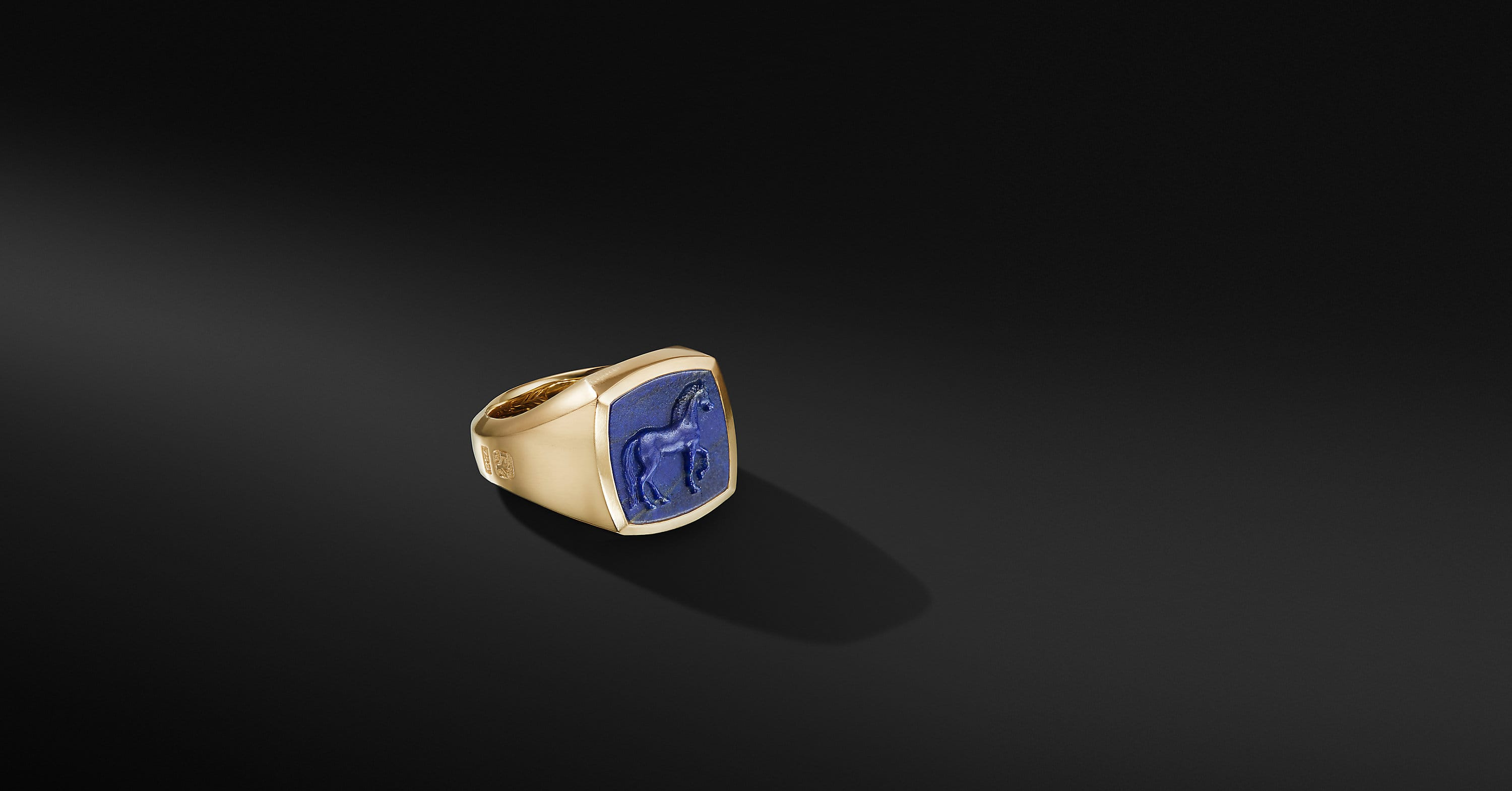 Petrvs Horse Signet Ring in 18K Yellow Gold