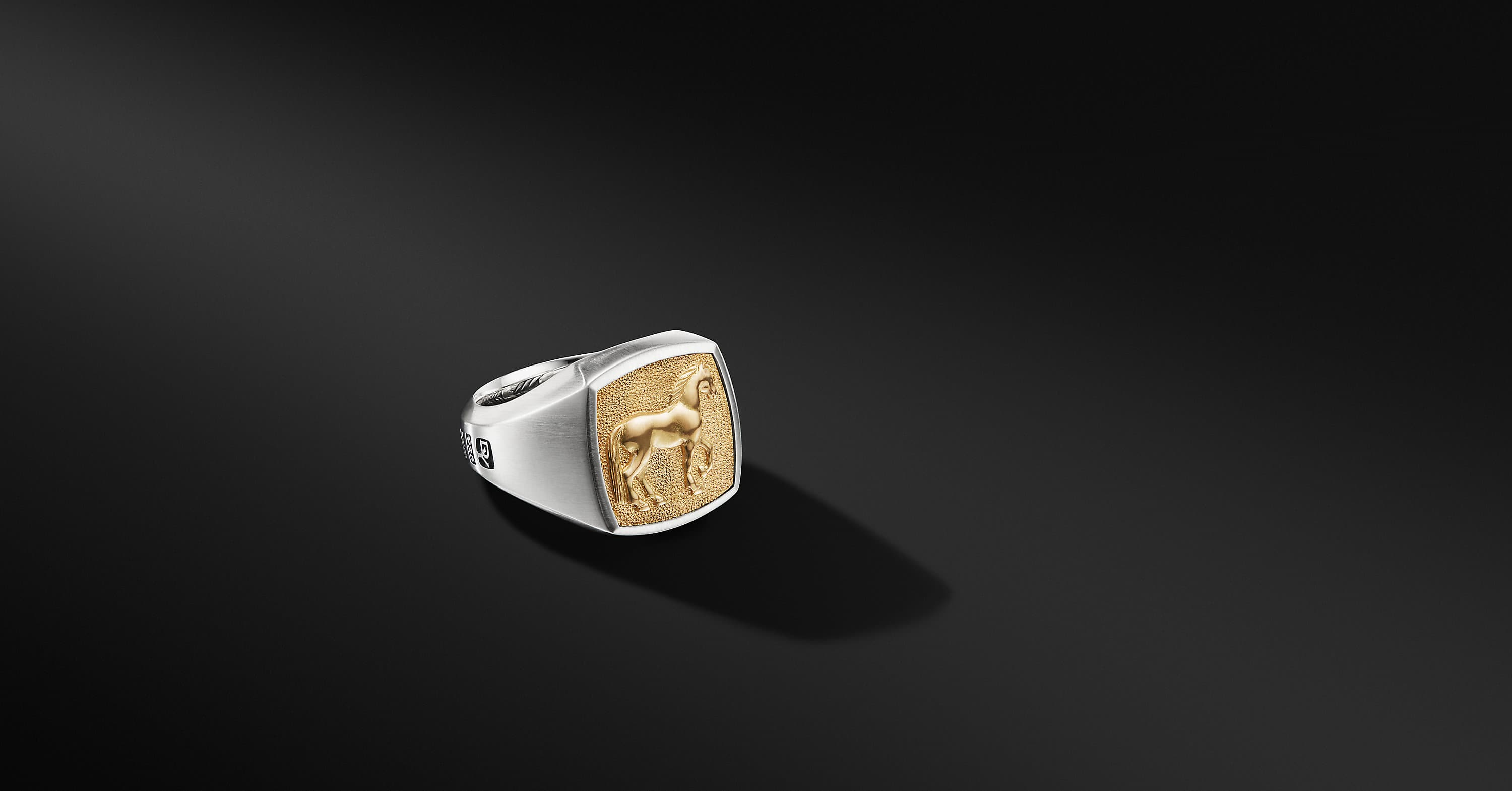 Petrvs Horse Signet Ring with 18K Yellow Gold
