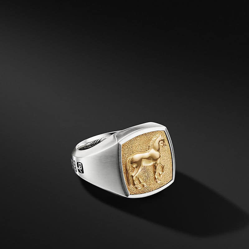 Petrvs® Horse Signet Ring with 18K Yellow Gold