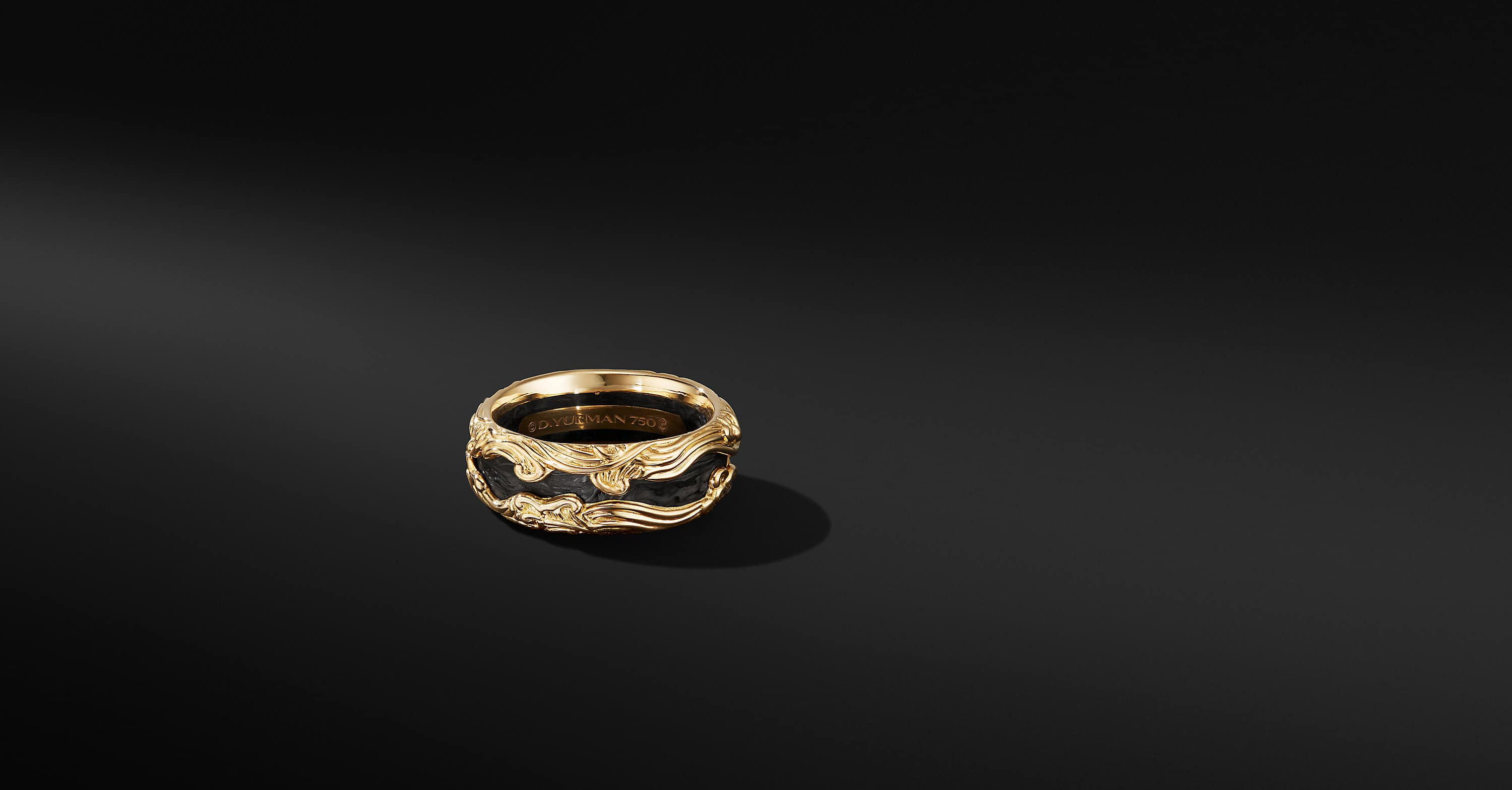 Waves Band Ring in 18K Yellow Gold, 10mm
