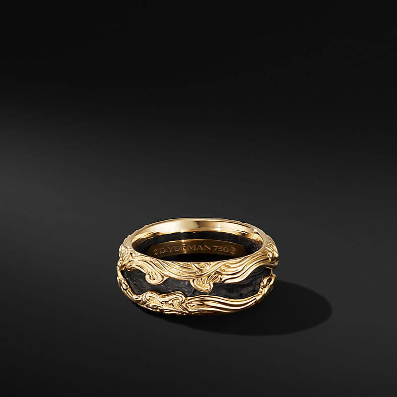 Forged Carbon Waves Band Ring in 18K Yellow Gold, 10mm