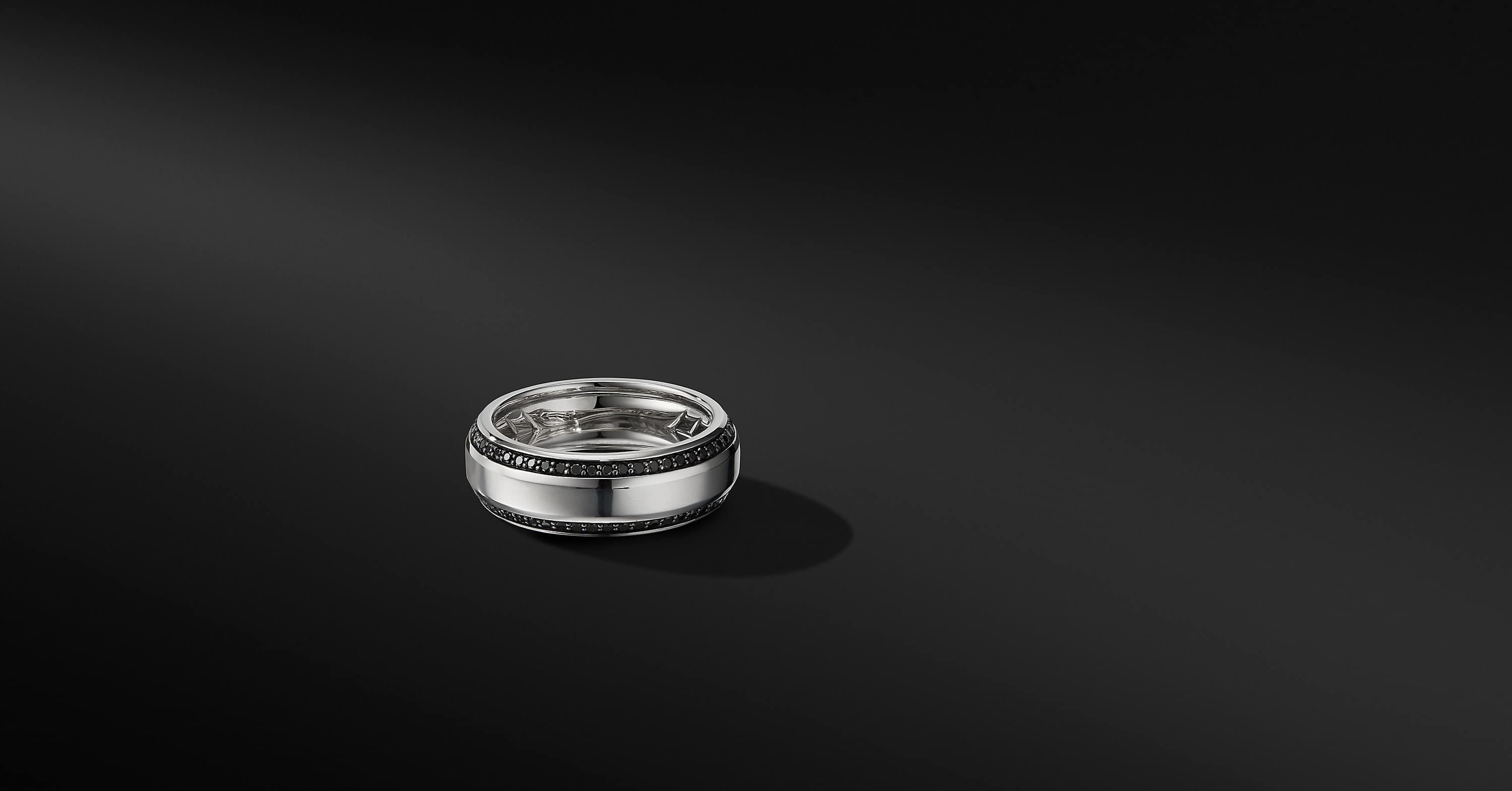 Beveled Band Ring in 18K White Gold with Black Diamonds, 8mm