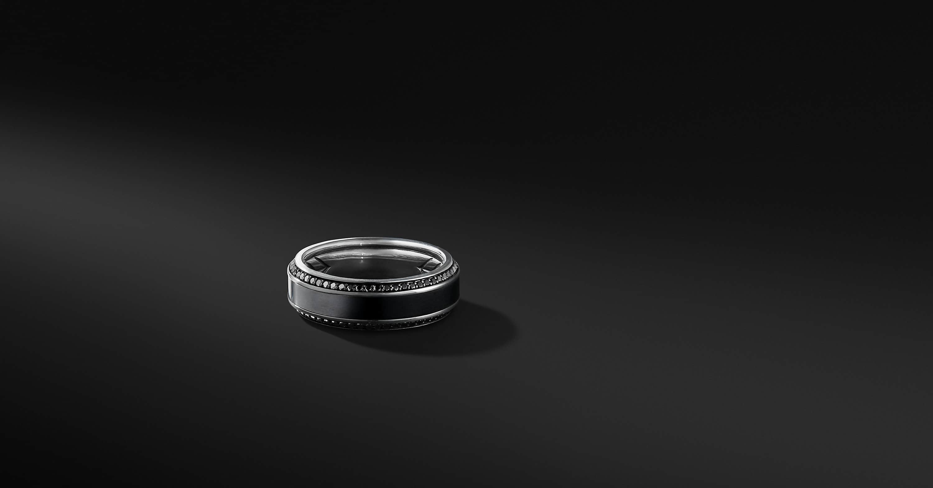 Beveled Band in Black Titanium with Black Diamonds, 8.5mm