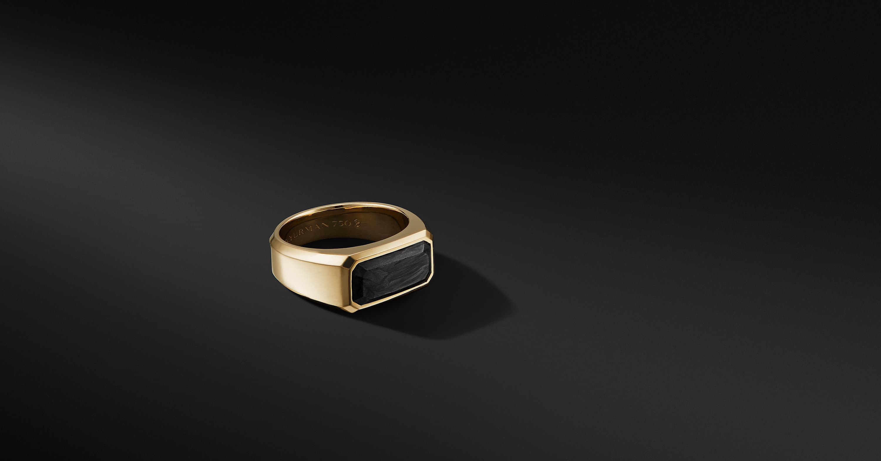 Forged Carbon Signet Ring in 18K Yellow Gold