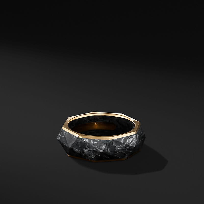 Torqued Faceted Band Ring in 18K Yellow Gold, 8mm