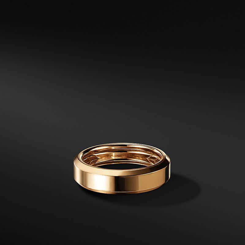 Beveled Band in 18K Yellow Gold, 6mm