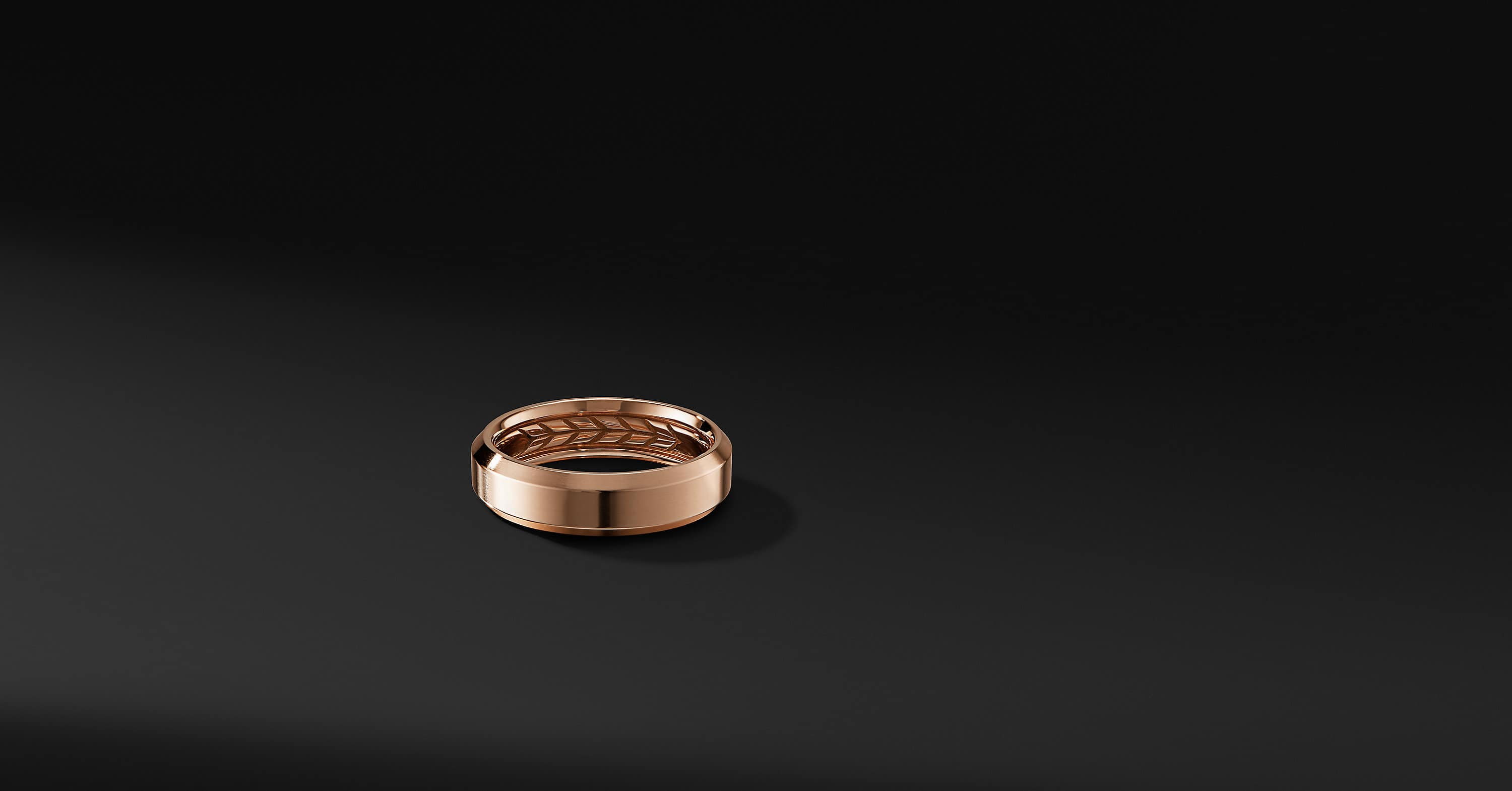 Beveled Band Ring in 18K Rose Gold, 6mm