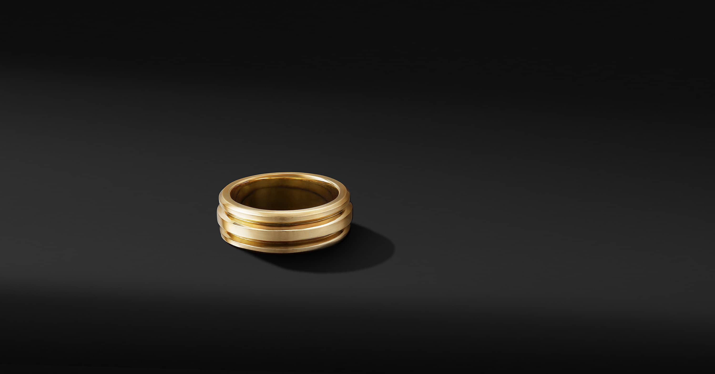 Deco Band Ring in 18K Yellow Gold, 8.5mm