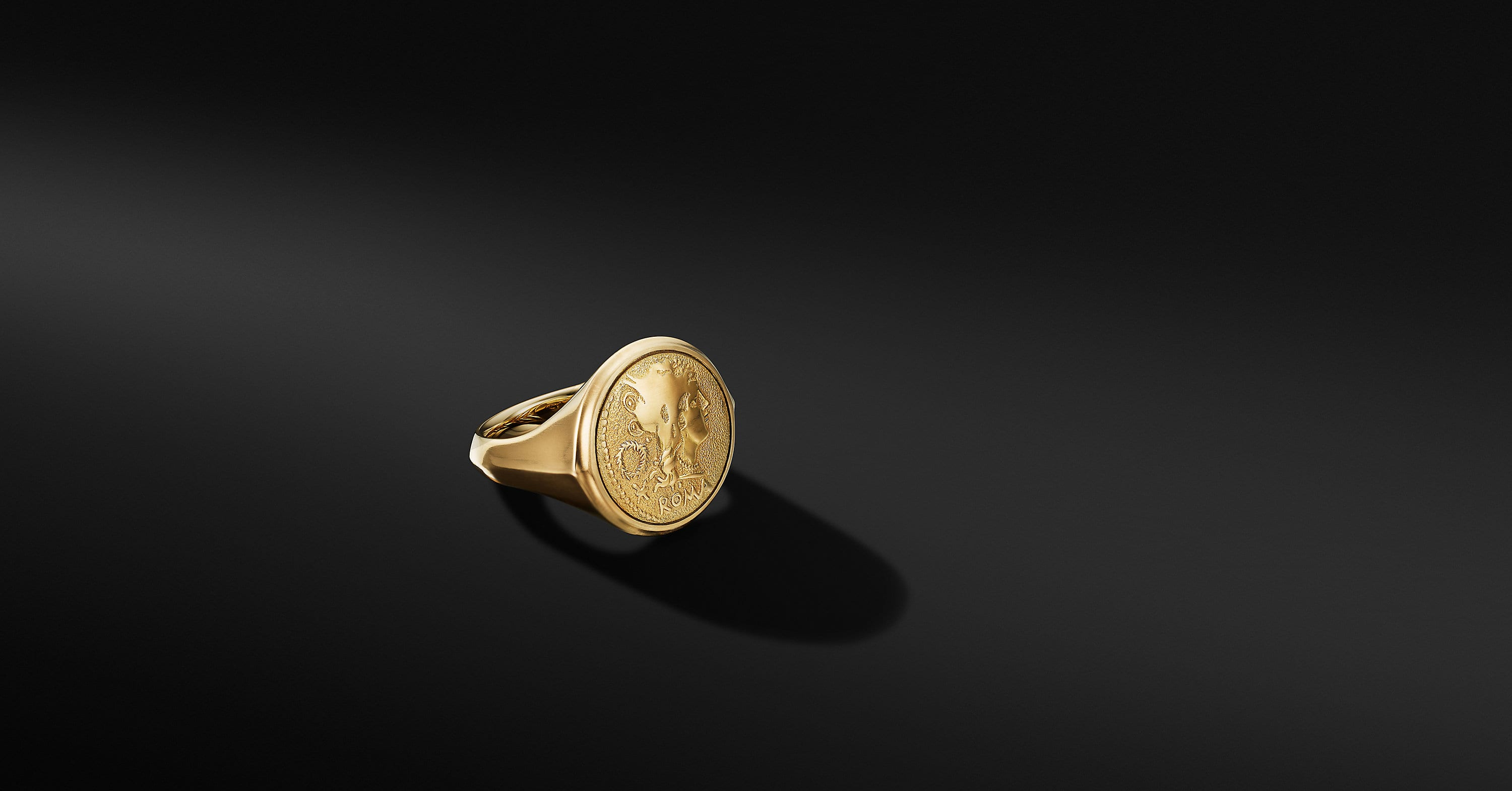 Roman Coin Ring in 18K Yellow Gold