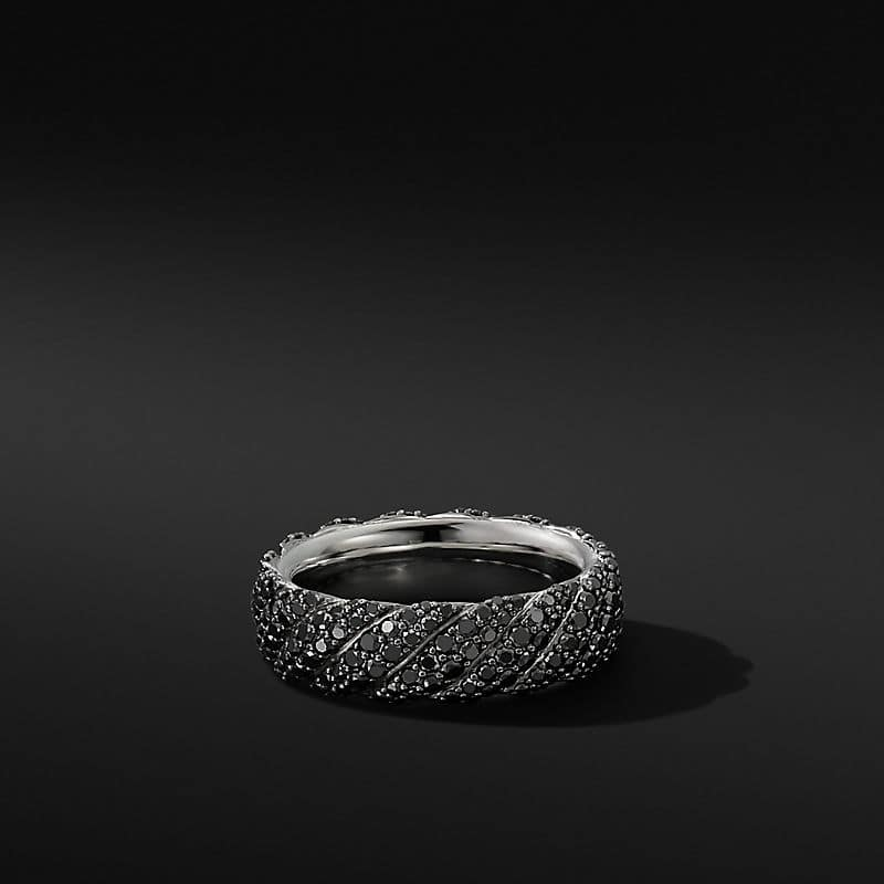 Cable Band Ring in 18K White Gold with
