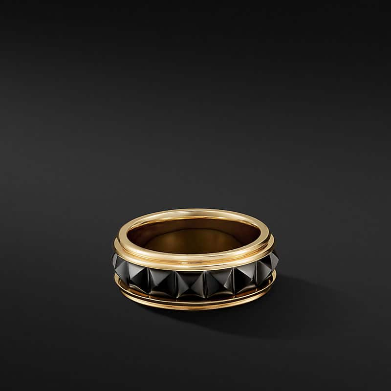 Pyramid Band Ring in 18K Yellow Gold with Black Titanium, 8mm