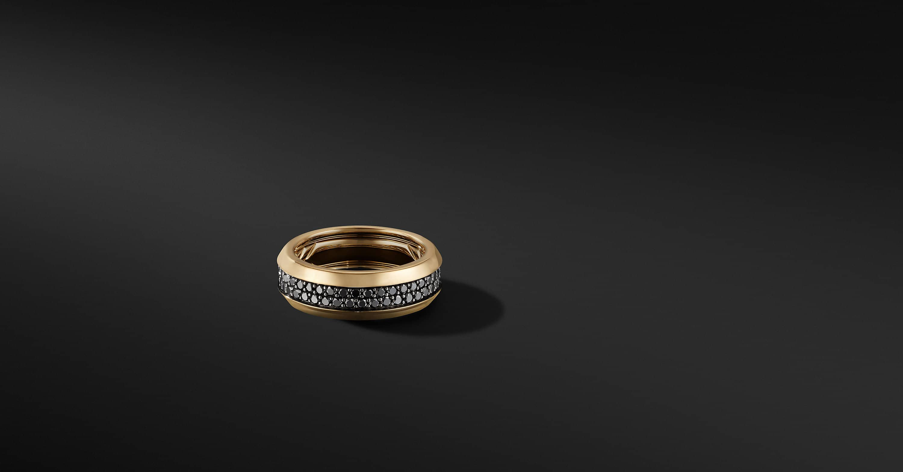 Beveled Two Row Band Ring in 18K Yellow Gold, 8mm