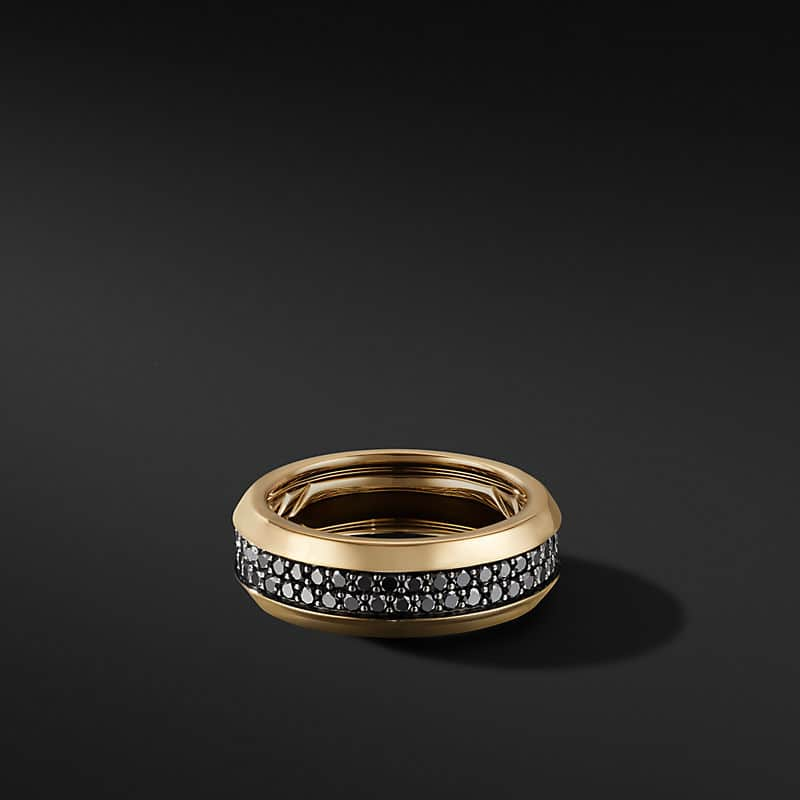 Beveled Two Row Band Ring in 18K Yellow