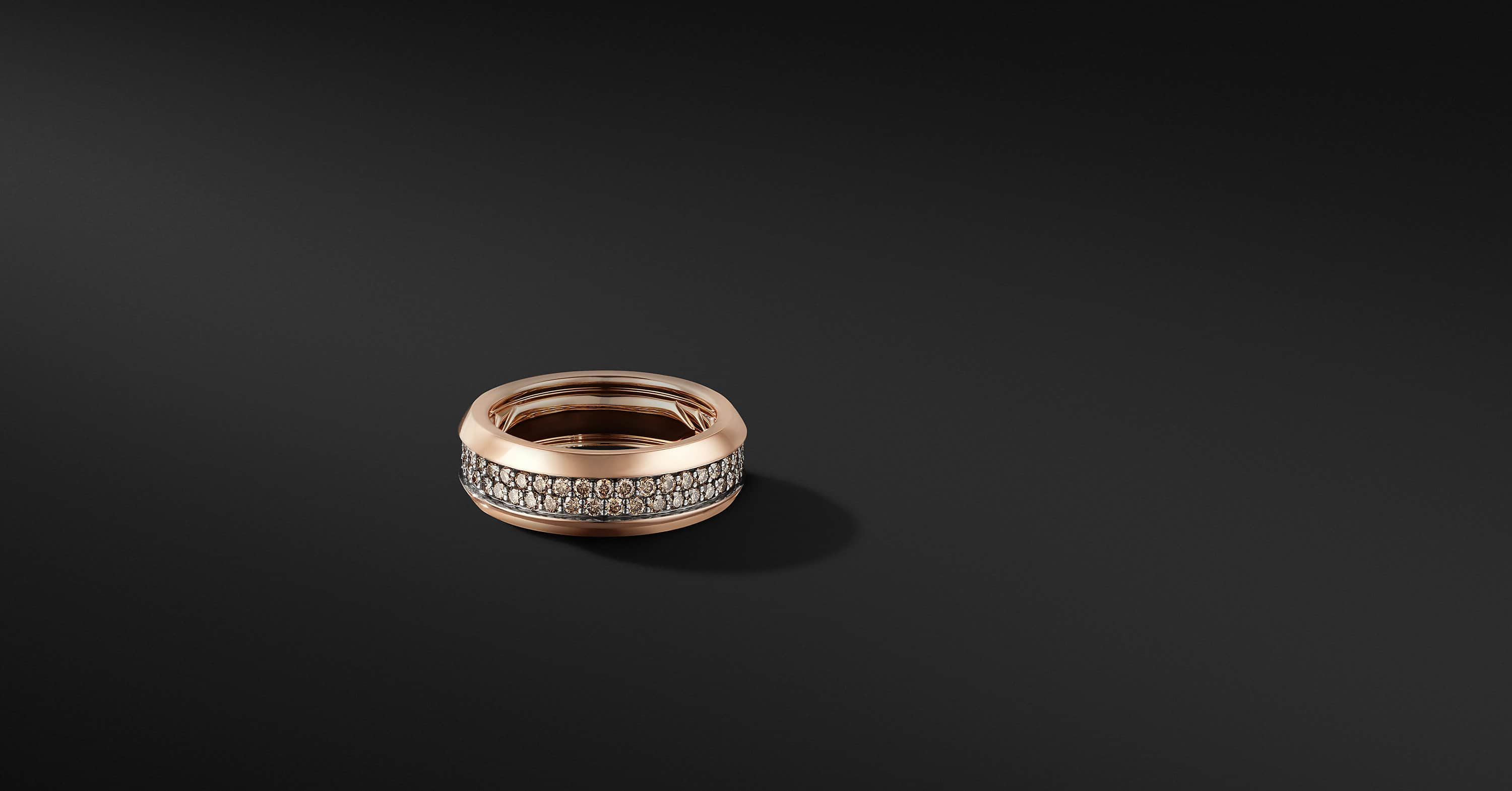 Beveled Two Row Band Ring in 18K Rose Gold, 8mm