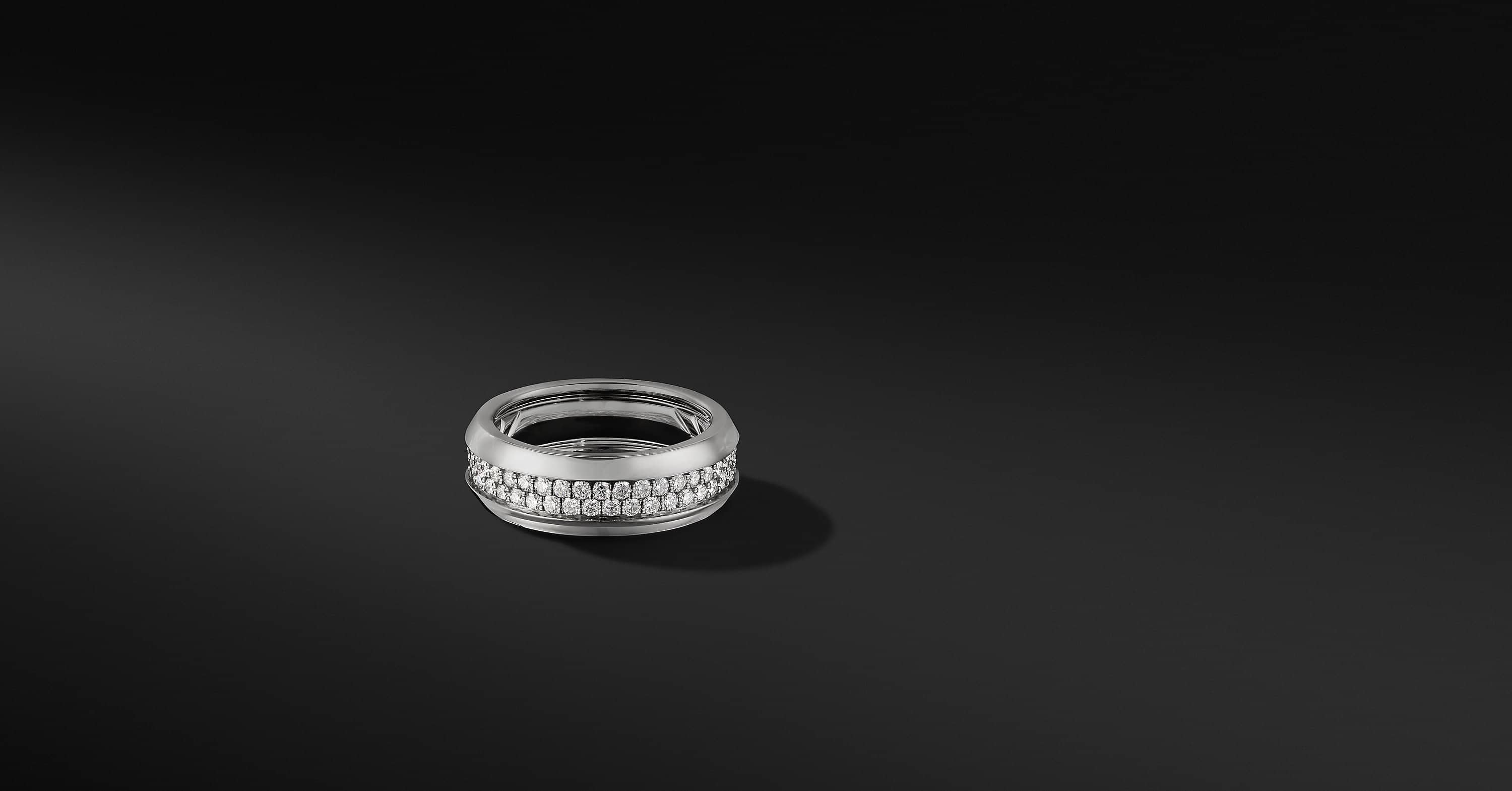 Beveled Two Row Band Ring in 18K White Gold, 8mm
