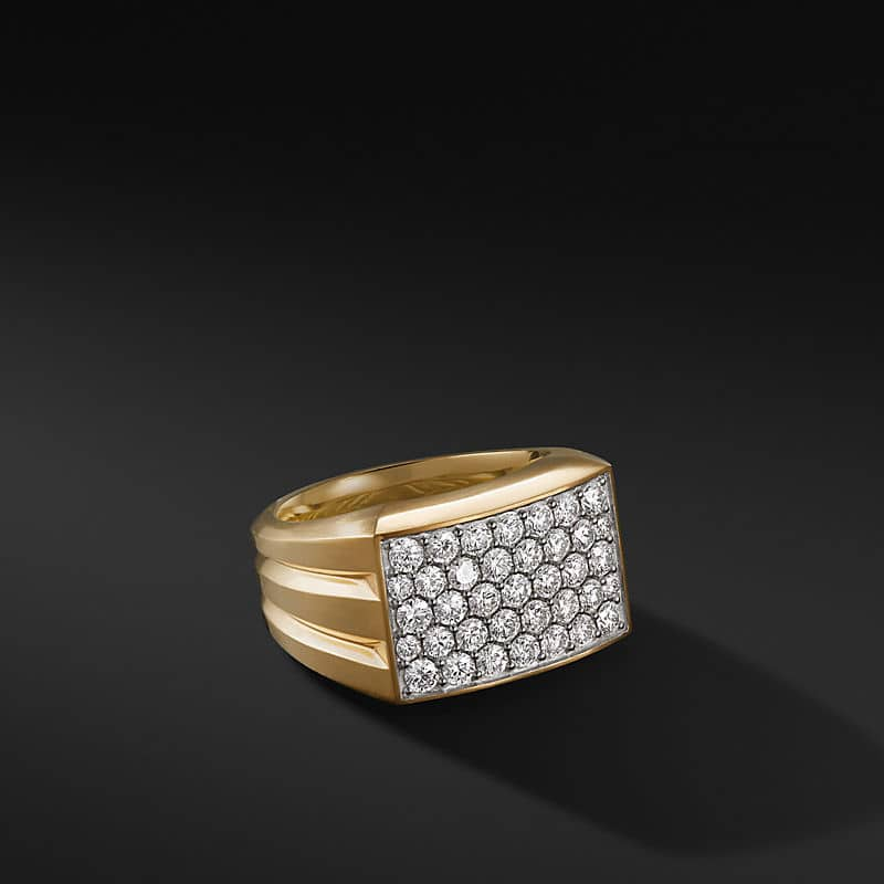 Beveled Signet Ring in 18K Yellow Gold,14.8mm