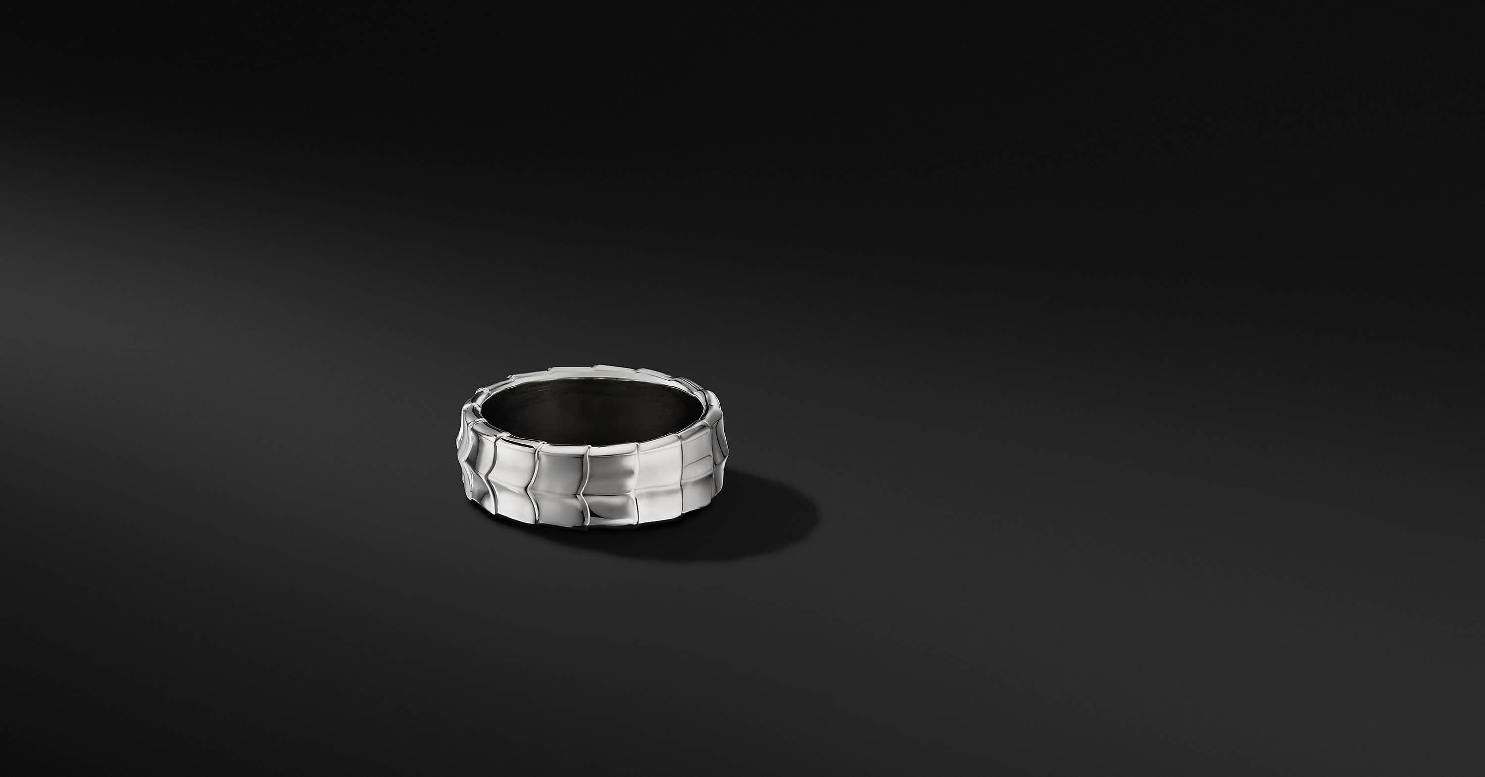 Armory Band Ring in 18K White Gold, 8mm
