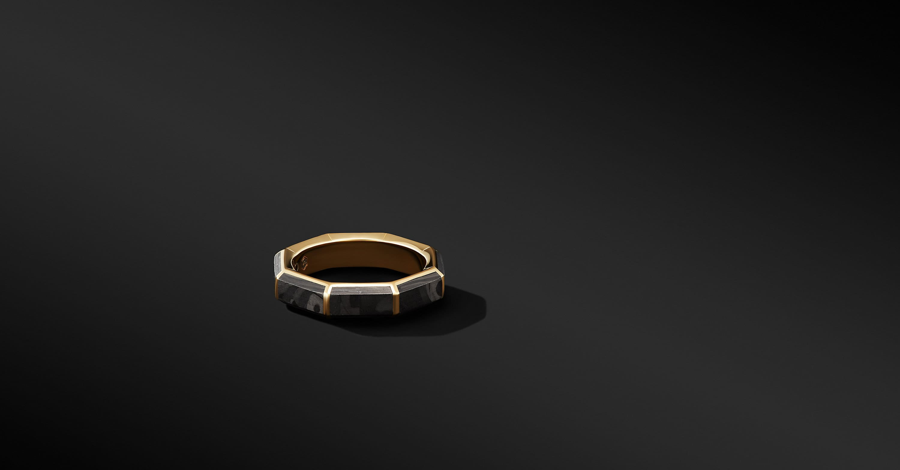 Forged Carbon Faceted Band Ring with 18K Yellow Gold, 6mm