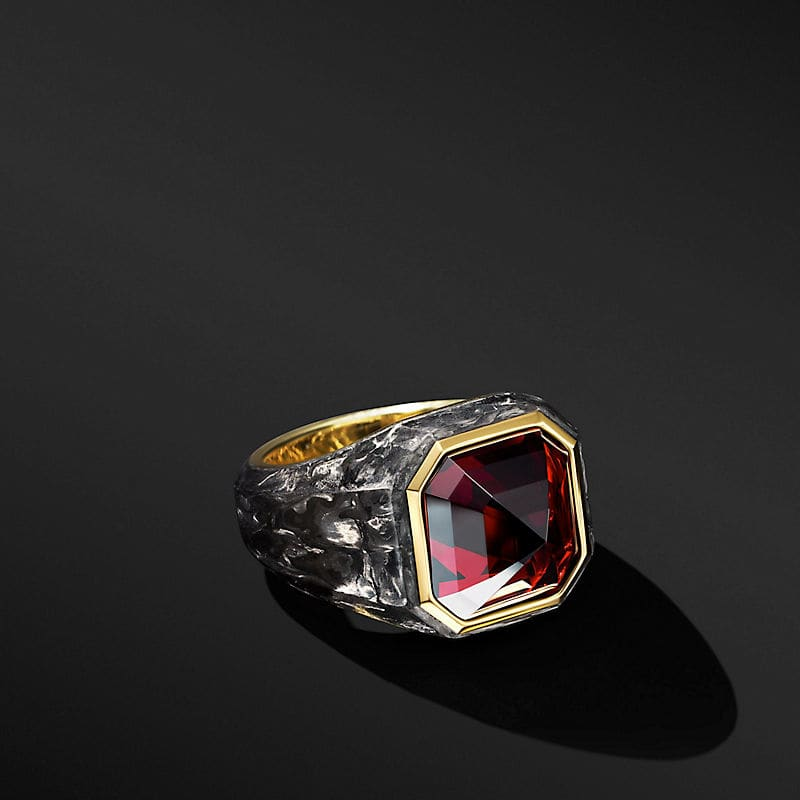 Forged Carbon Signet Ring with 18K Yellow Gold