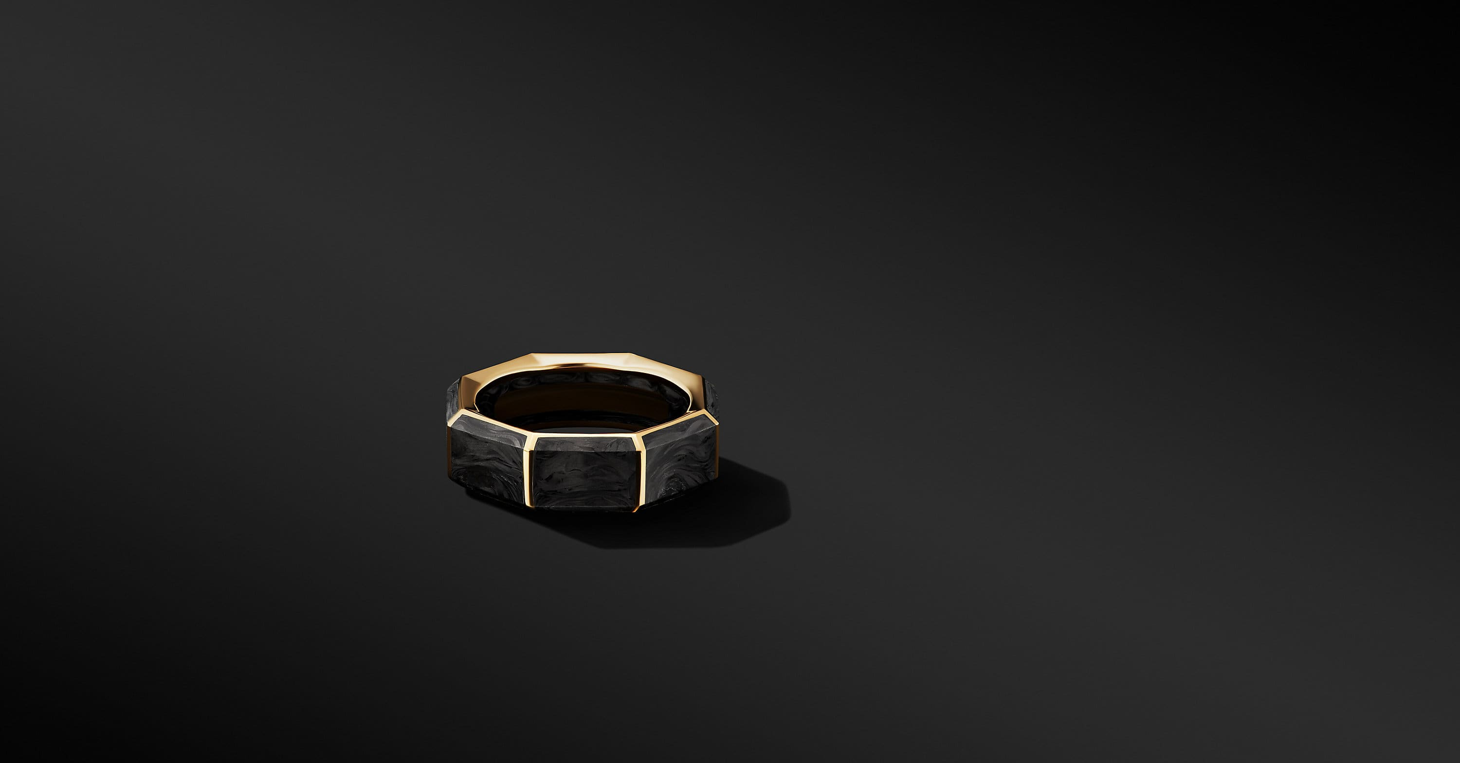 Forged Carbon Faceted Band Ring with 18K Yellow Gold, 8mm