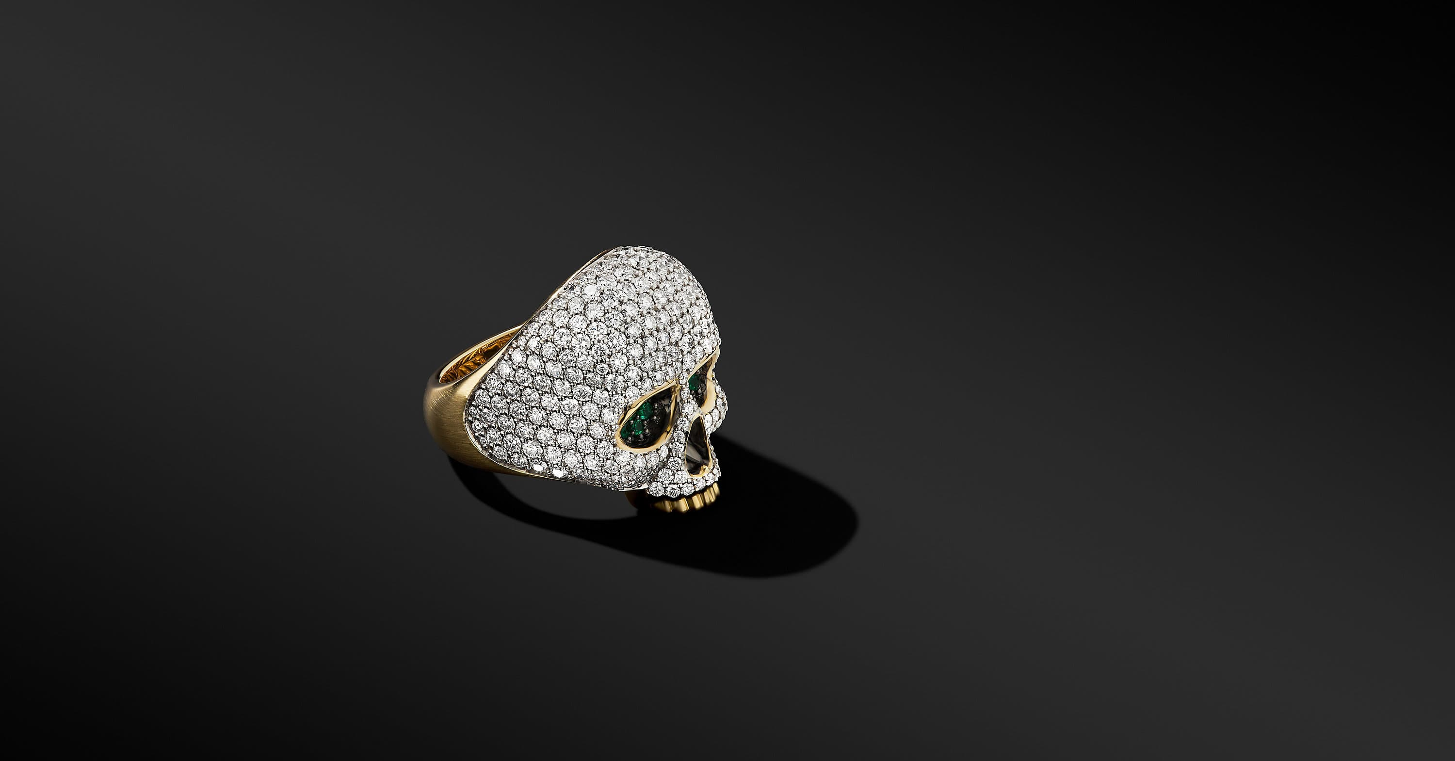 Skull Ring in 18K Yellow Gold with Pavé, 26mm