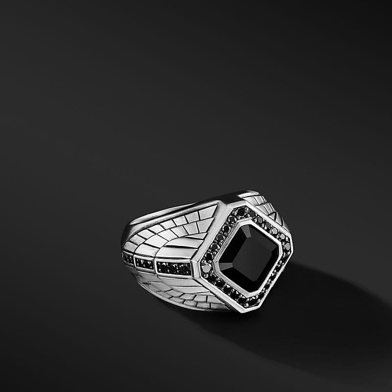 Empire Signet Ring with Black Onyx and Pavé