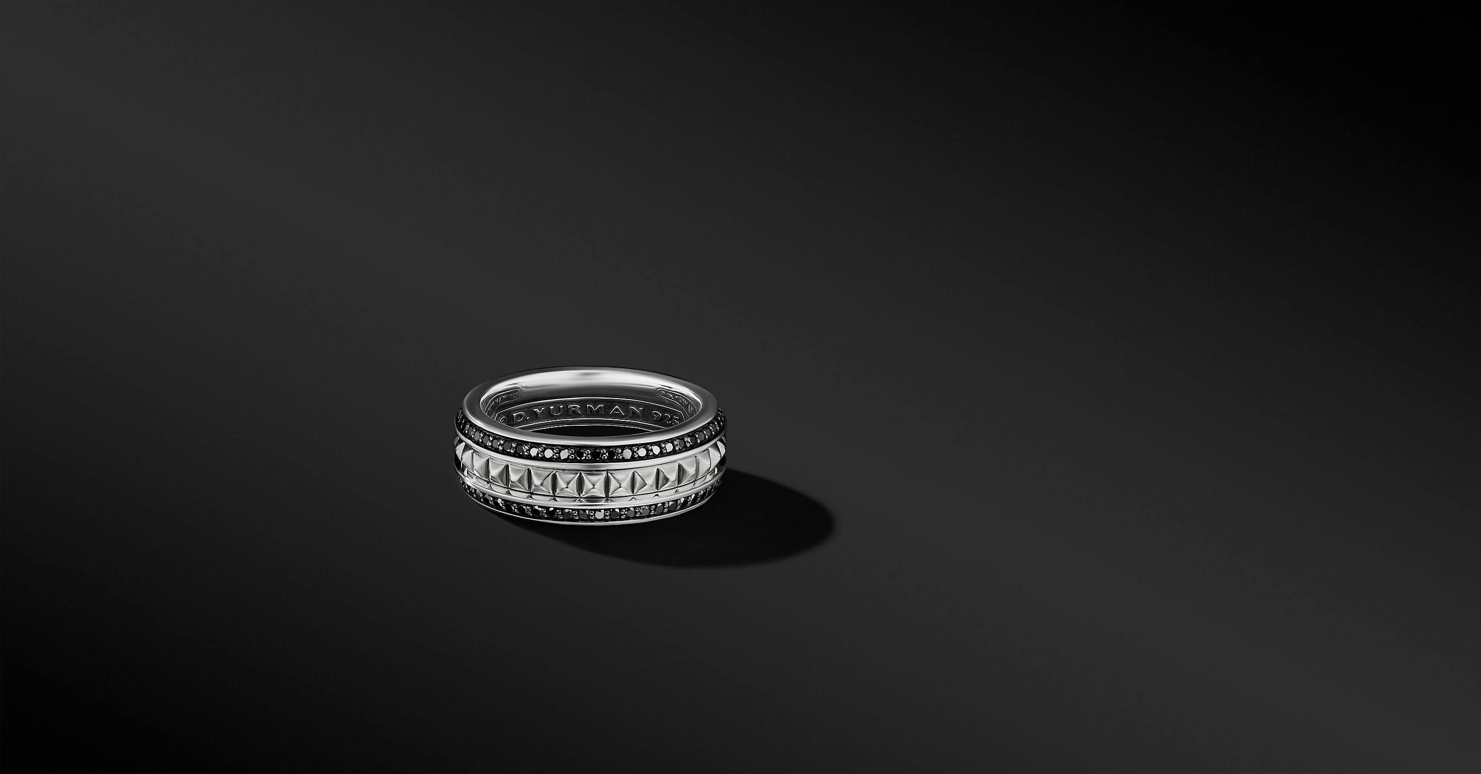 Pyramid Band Ring with Pavé, 6mm