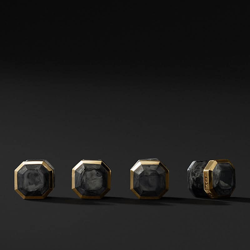 Forged Carbon Stud Set in 18K Gold