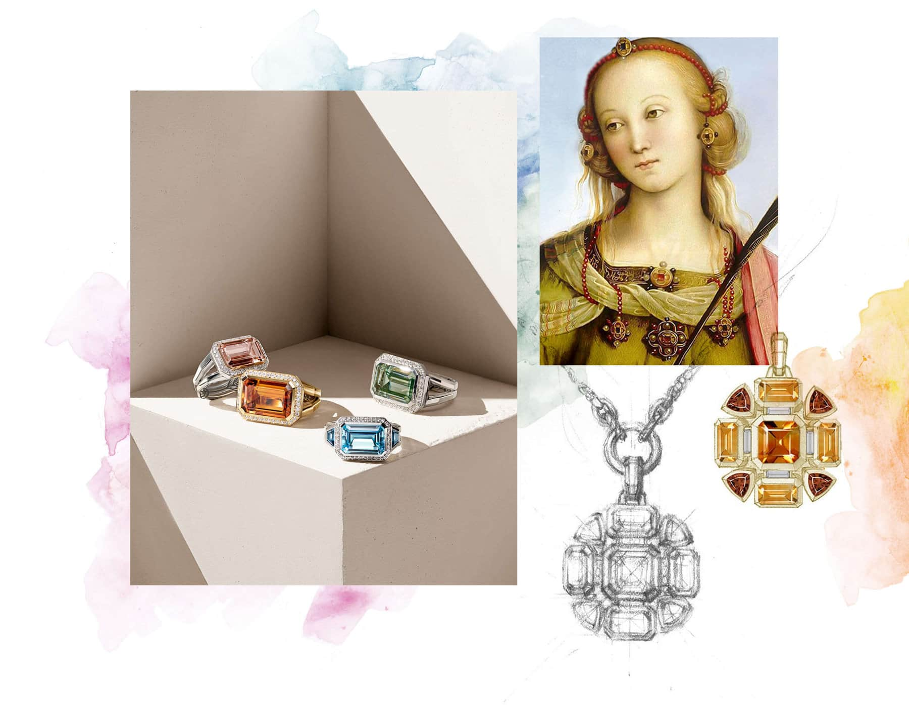 A photo collage juxtaposes a color photo of David Yurman Novella rings with a painting of a woman and a black-and-white sketch of a Novella mosaic pendant with splotches of color in the background. The rings are crafted from sterling silver with or without 18K rose gold, or 18K yellow gold, all with colored gemstones and pavé diamonds.