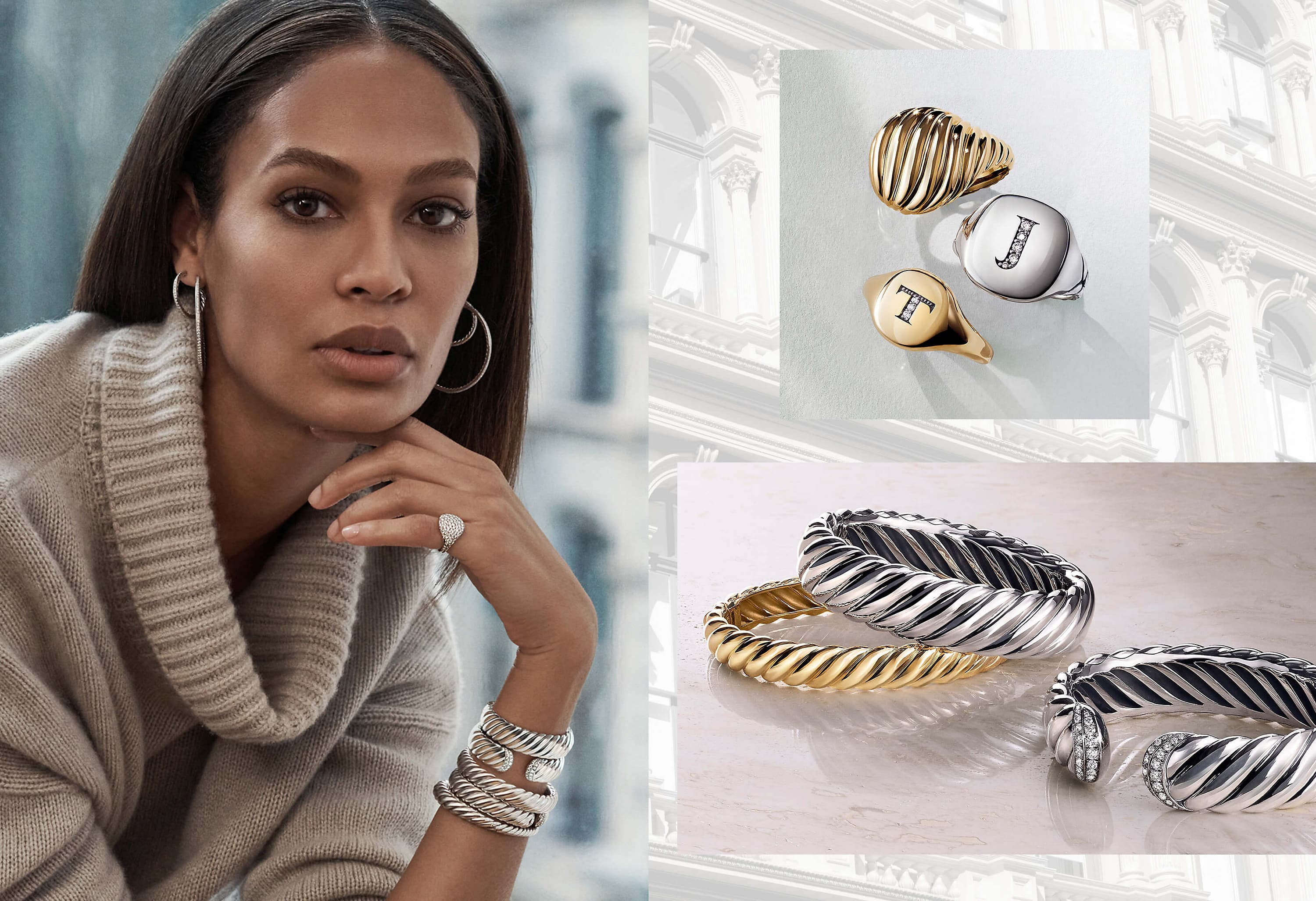 A photo collage shows an image of model Joan Smalls from the shoulders up to the left of a shot of David Yurman pinky rings above an image of three David Yurman Pure Form and Sculpted Cable bracelets. Joan Smalls is wearing a beige turtleneck sweater and David Yurman hoop earrings, a pinky ring and a stack of Sculpted Cable bracelets on one wrist. Her jewelry is crafted from sterling silver or 18K white gold with pavé diamonds. The other pinky rings and bracelets are crafted from sterling silver or 18K yellow gold with or without pavé diamonds.