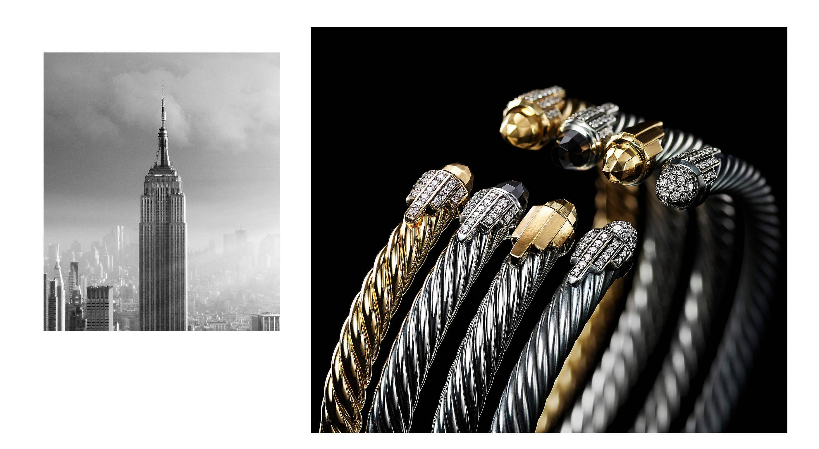 A close-up of four David Yurman Empire Collection Cable bracelets in a diagonal row standing on a black background. The jewelry is crafted from sterling silver or 18K yellow gold with or without black onyx, 18K yellow gold or pavé diamond end caps.