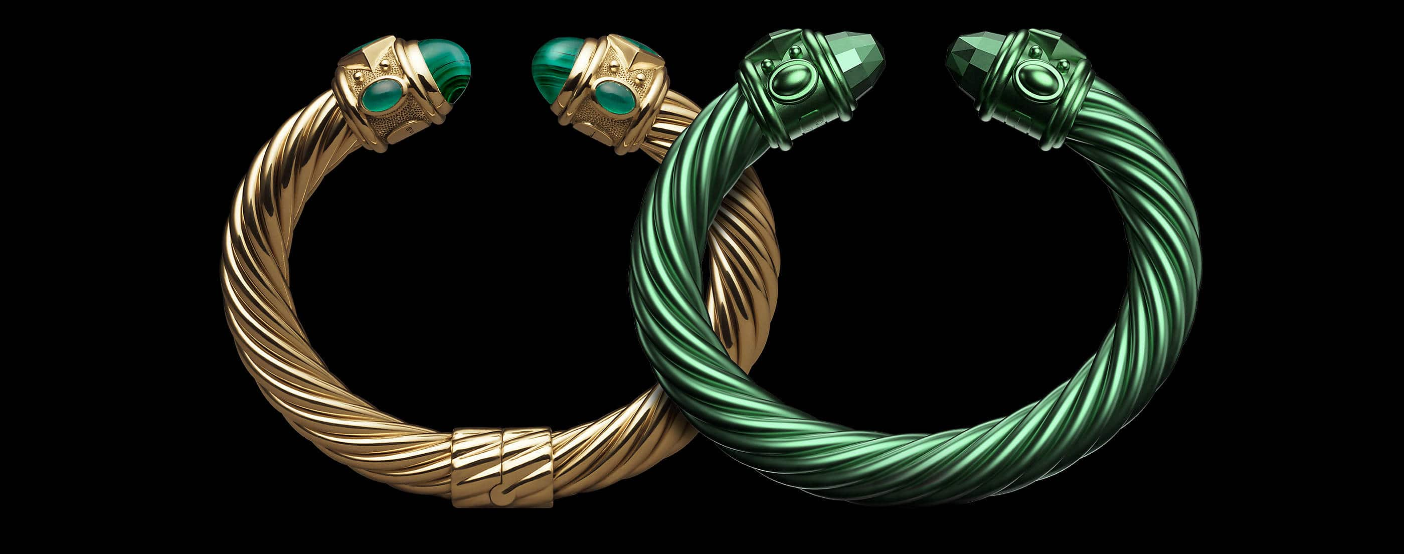 An image of a David Yurman Renaissance bracelet in 18K yellow gold on the left overlapping with a green-hued aluminum version of the same bracelet on the right. The bracelet on the left features emerald cabochons.