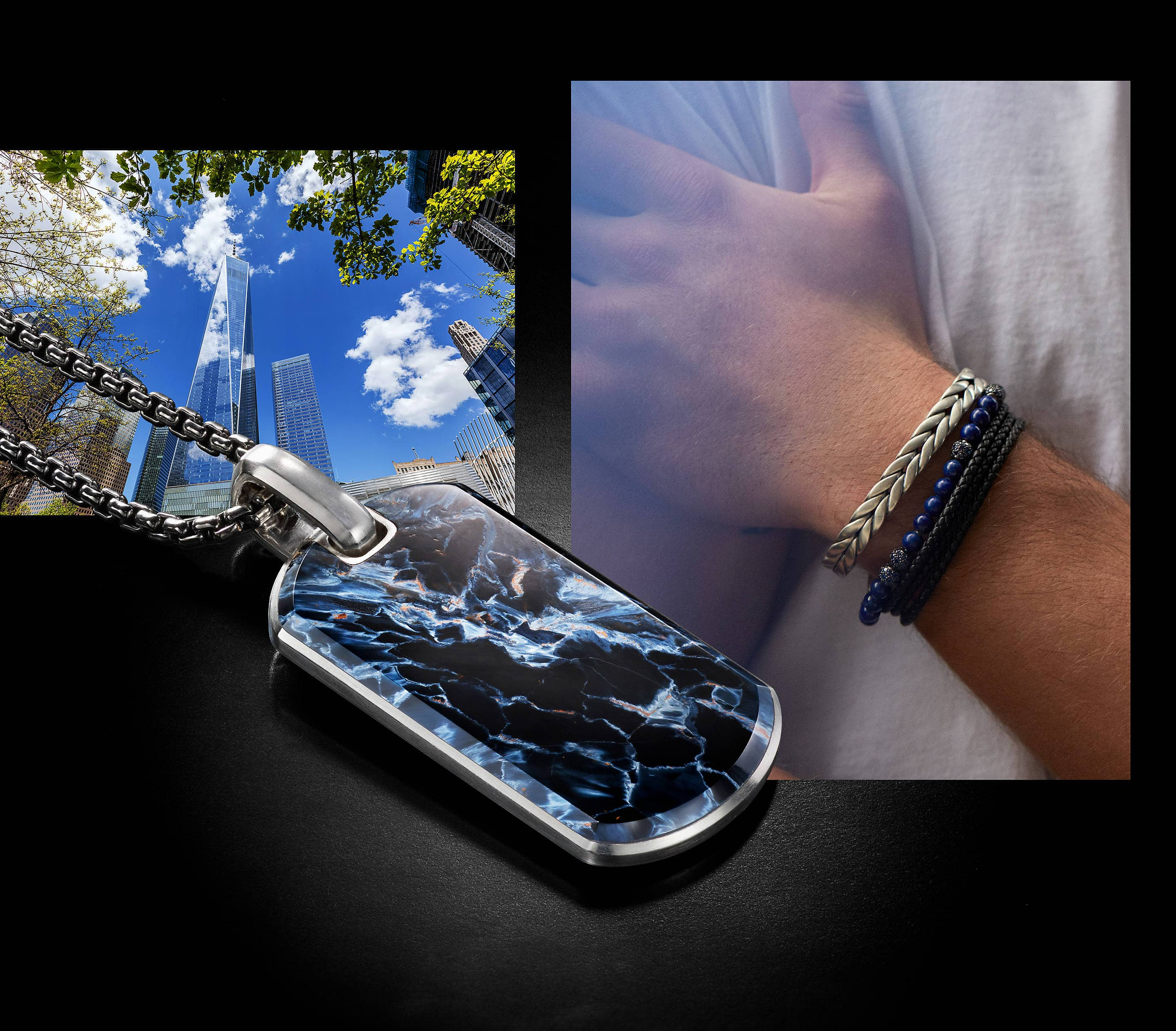 An image of a black acrylic-coated stainless steel box chain, two Chevron bracelets, and a Spiritual Beads necklace and bracelet. One Chevron cuff bracelet is crafted from sterling silver, both the Spiritual Beads necklace and bracelet are crafted from sterling silver with lapis lazuli beads and the final Chevron triple-wrap bracelet is crafted from braided black leather with a sterling silver clasp.