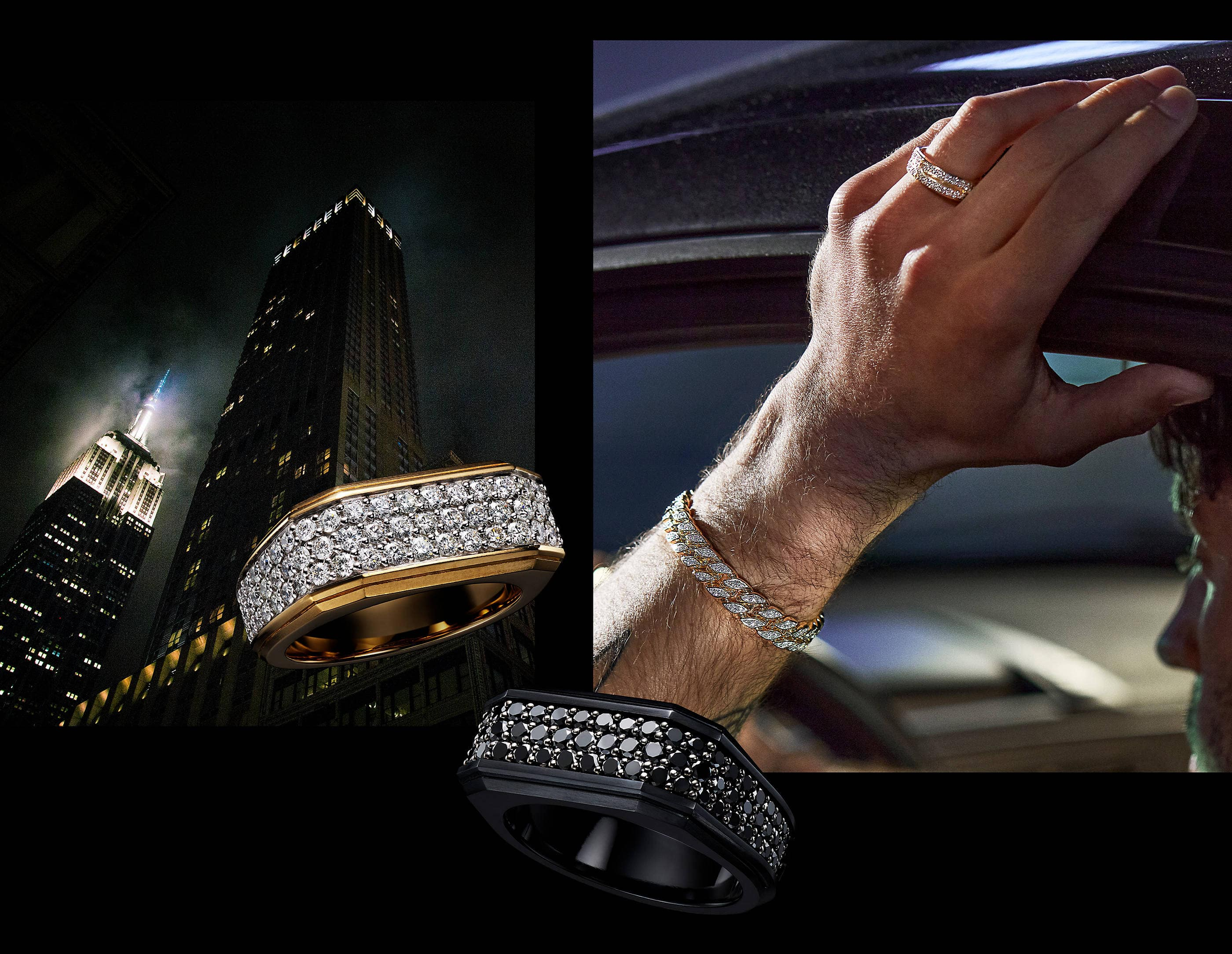 An image of a David Yurman ring and a curb chain bracelet, both in 18K yellow gold with pavé white diamonds. Overlapping both photos are David Yurman Roman rings. One ring is crafted from 18K yellow gold with three rows of pavé white diamonds. The other ring is crafted from black titanium with three rows of pavé black diamonds.