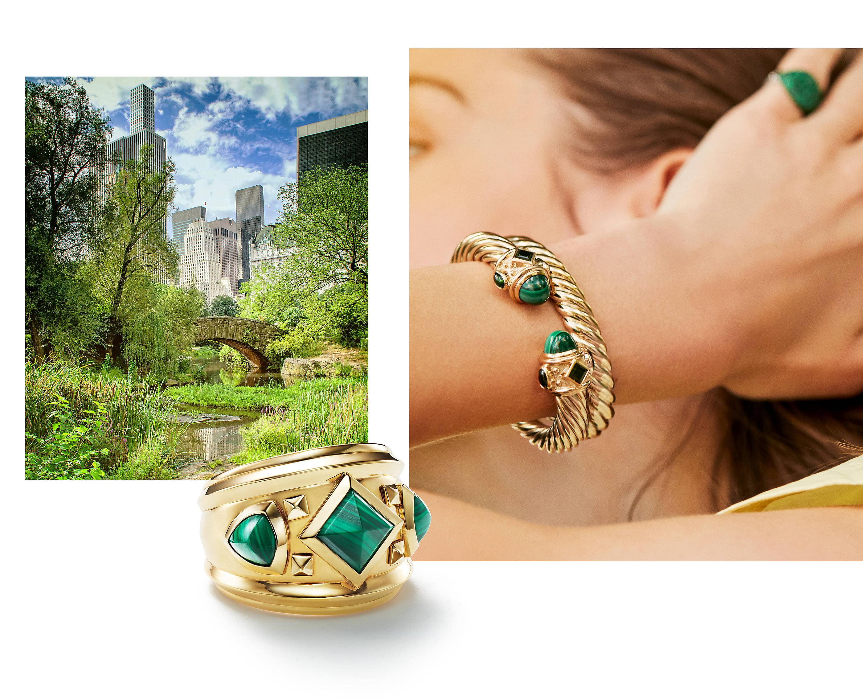 An image of David Yurman Renaissance and Sculpted Cable bracelets along with a pinky ring. The bracelets are crafted from 18K yellow gold with or without malachite and emeralds. The pinky ring is crafted from 18K white gold with pavé emeralds. In between both photos is a David Yurman Renaissance ring with a soft shadow. The ring is crafted from 18K yellow gold with pyramid-shaped malachite stones.