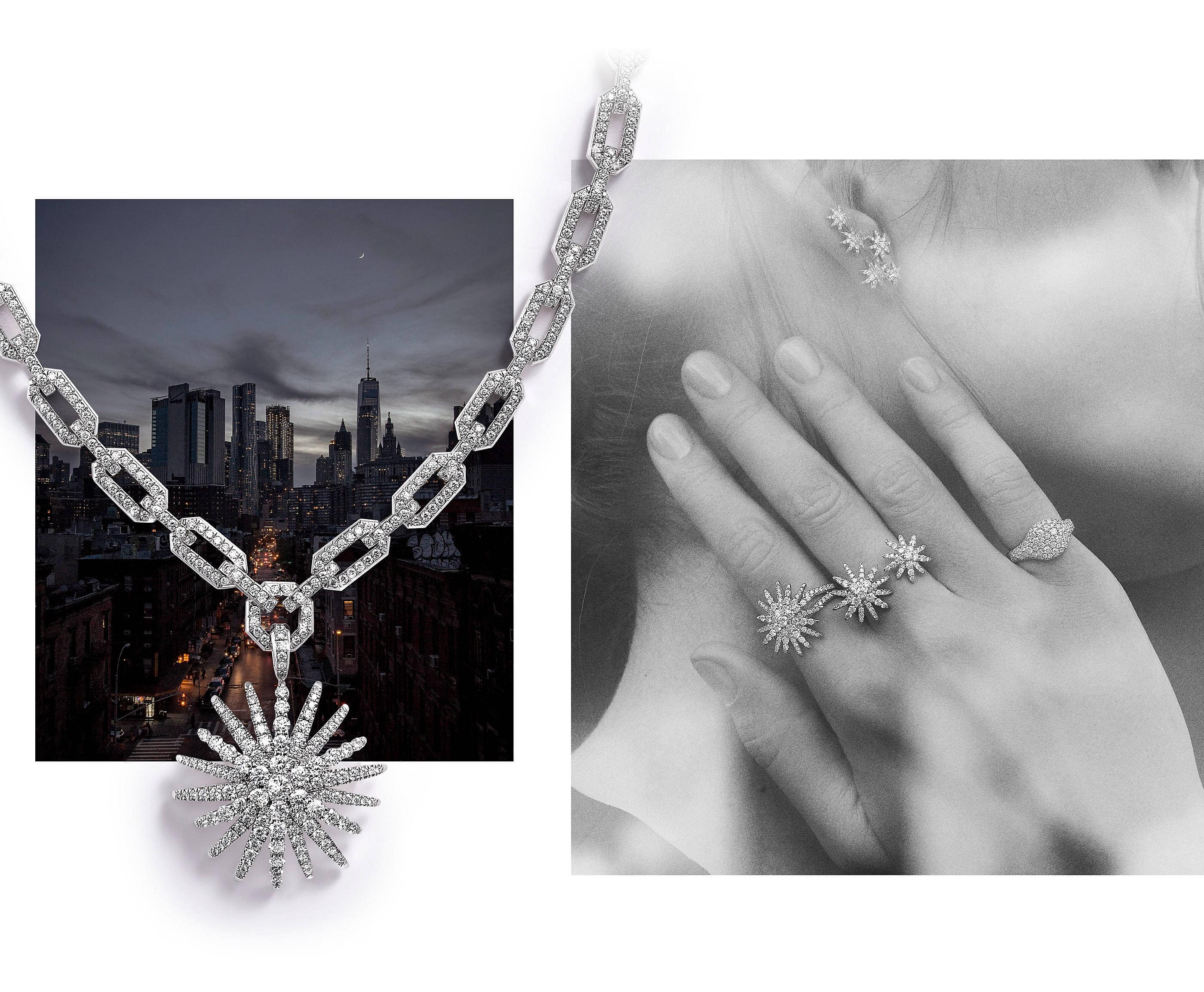 An image of David Yurman climber earrings, a bypass ring and a statement ring from the Starburst Collection along with a pinky ring. Atop the left photo is a David Yurman Starburst pendant and chain necklace with soft shadows. The jewelry is crafted from 18K white gold with pavé diamonds.