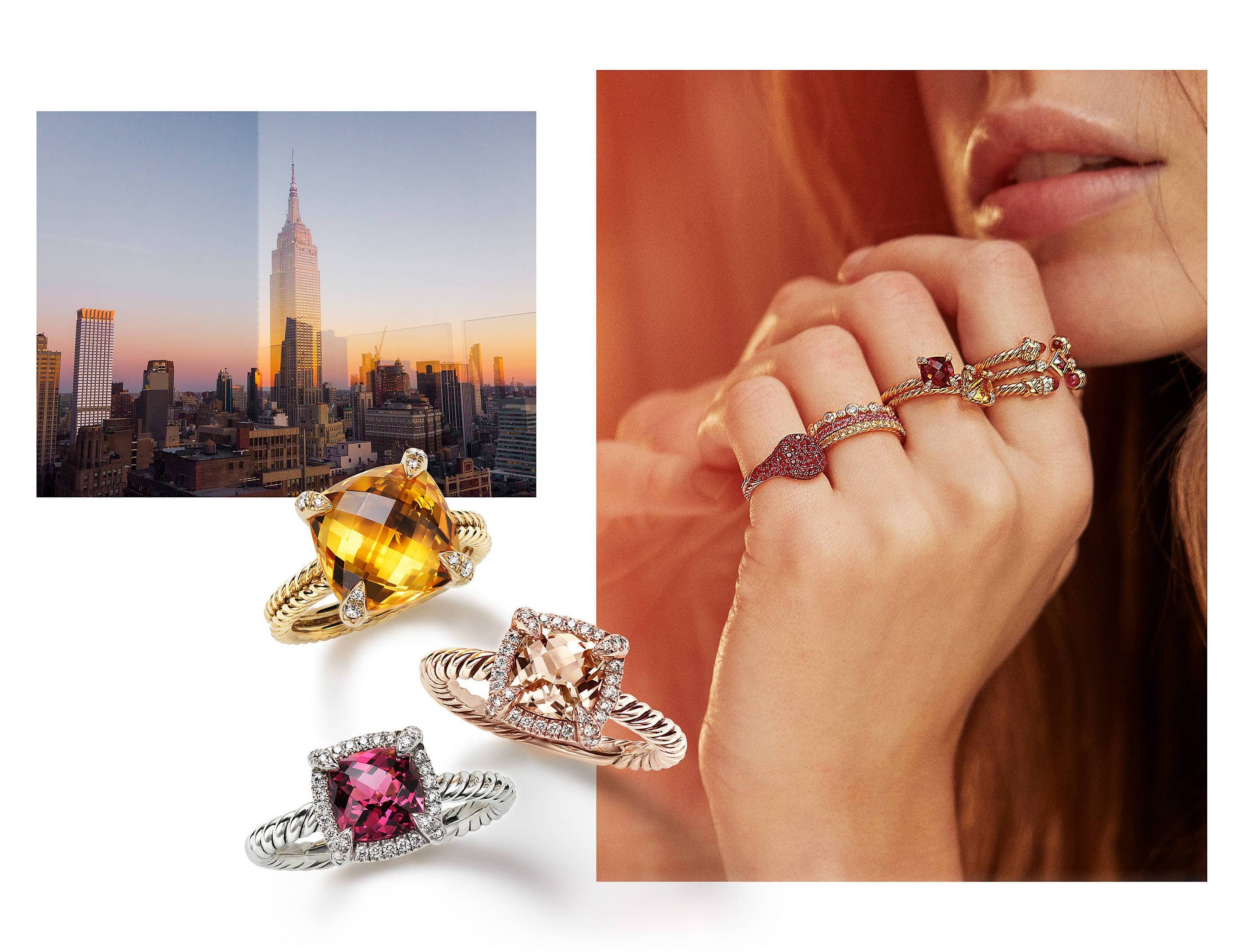 An image of David Yurman rings from the Renaissance, Chatelaine and Wedding collections along with a pinky ring. The rings are crafted from mixed metals, 18K yellow gold with or without pavé diamonds or rubies, or 18K white gold with rubies or pavé diamonds.