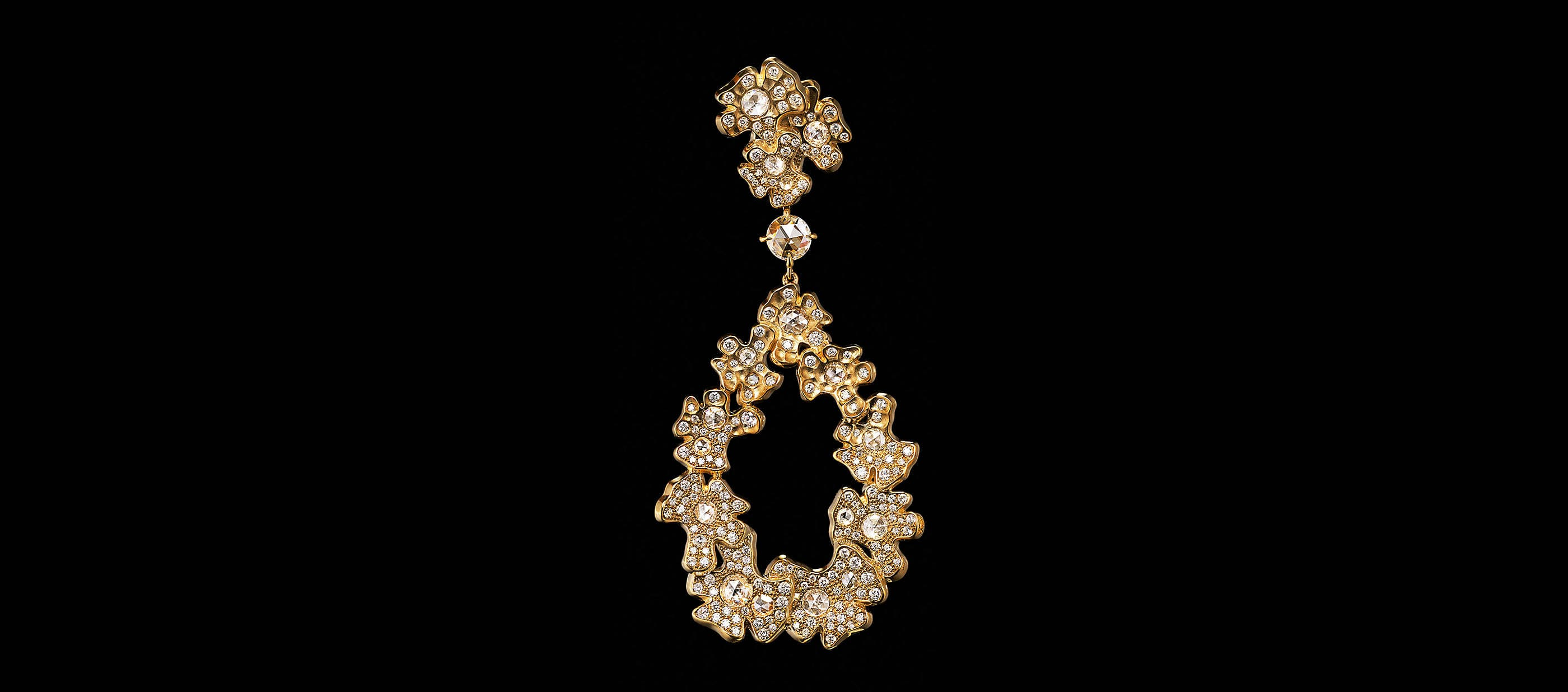 An image of a Yellow Gold HJ petals drop Earring