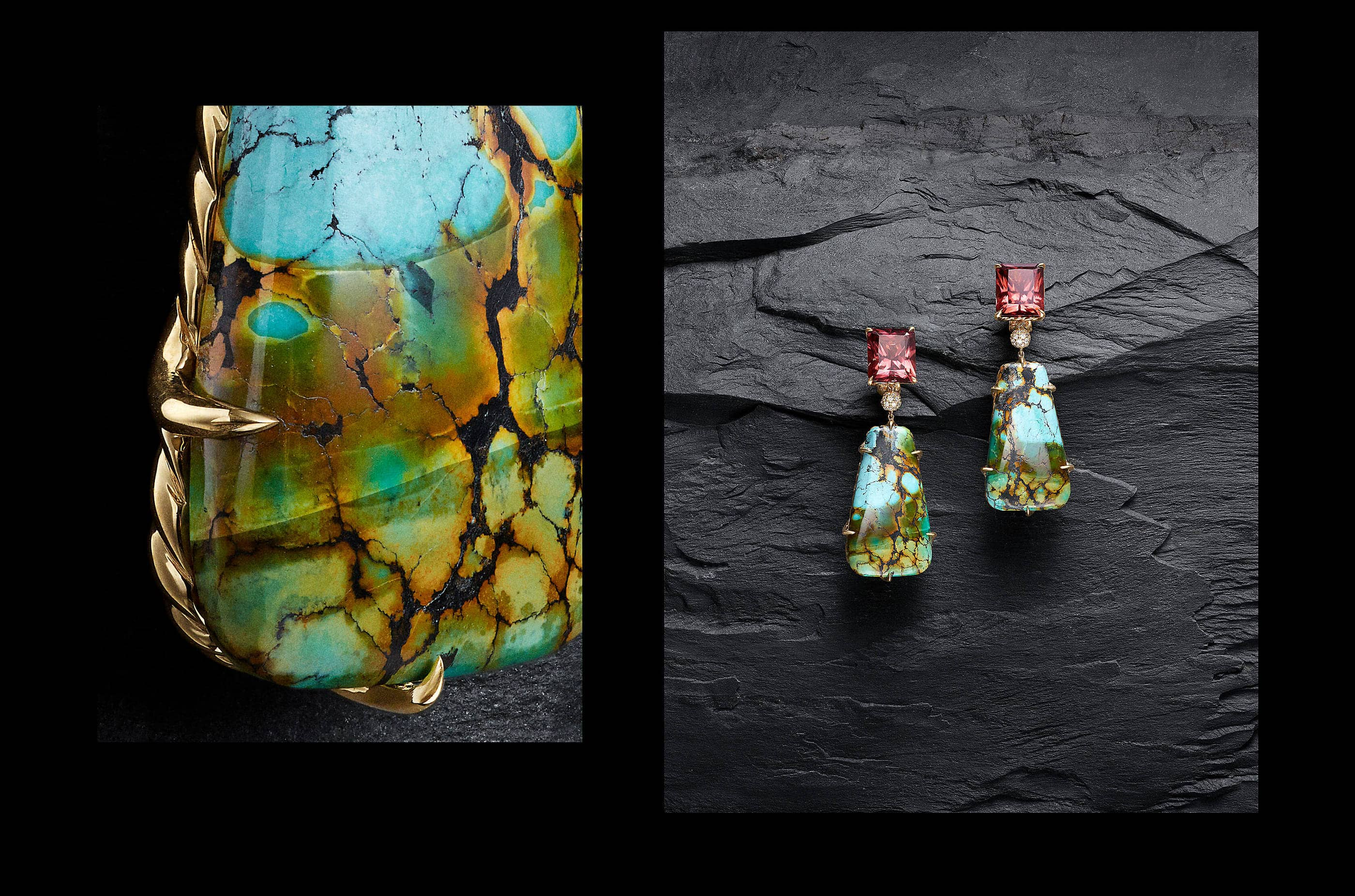 A close-up shot of the turquoise and 18K gold backing of a pair of David Yurman Artist Series earrings next to a photo of the earrings shot on a dark stone.