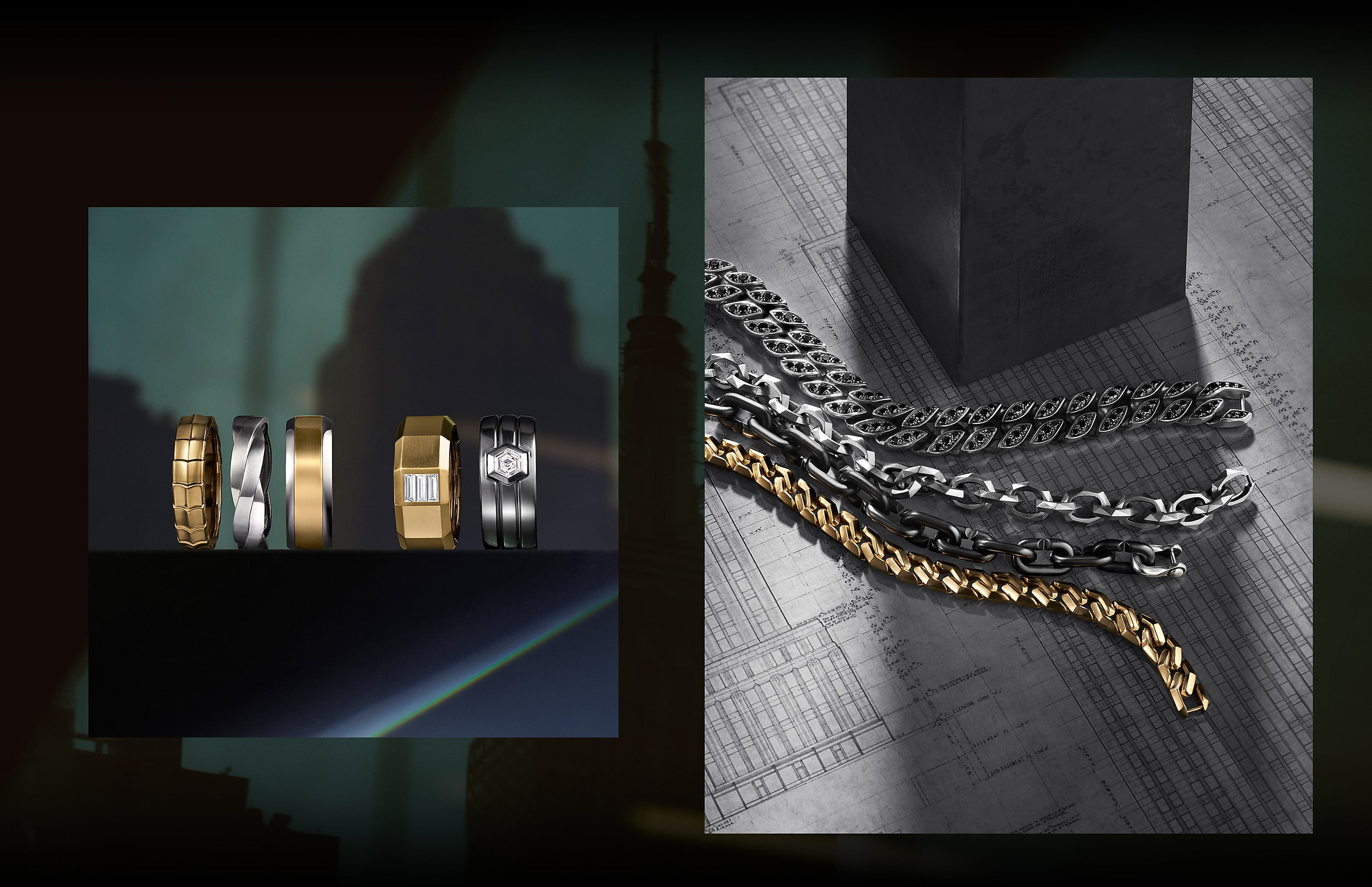 Two color photos of David Yurman men's jewelry are placed next to each other in a row against a black background. On the left is an image of a horizontal row of five bands standing on a dark reflective surface with a projection of a city building in the background. The bands are crafted from 18K yellow gold, sterling silver, mixed metals, or 18K yellow gold or platinum with center white diamonds. On the right is an image of four chain bracelets lying in a row atop architectural blueprints near a dark grey box. The bracelets are crafted from 18K yellow gold, black titanium or sterling silver with or without black diamonds.