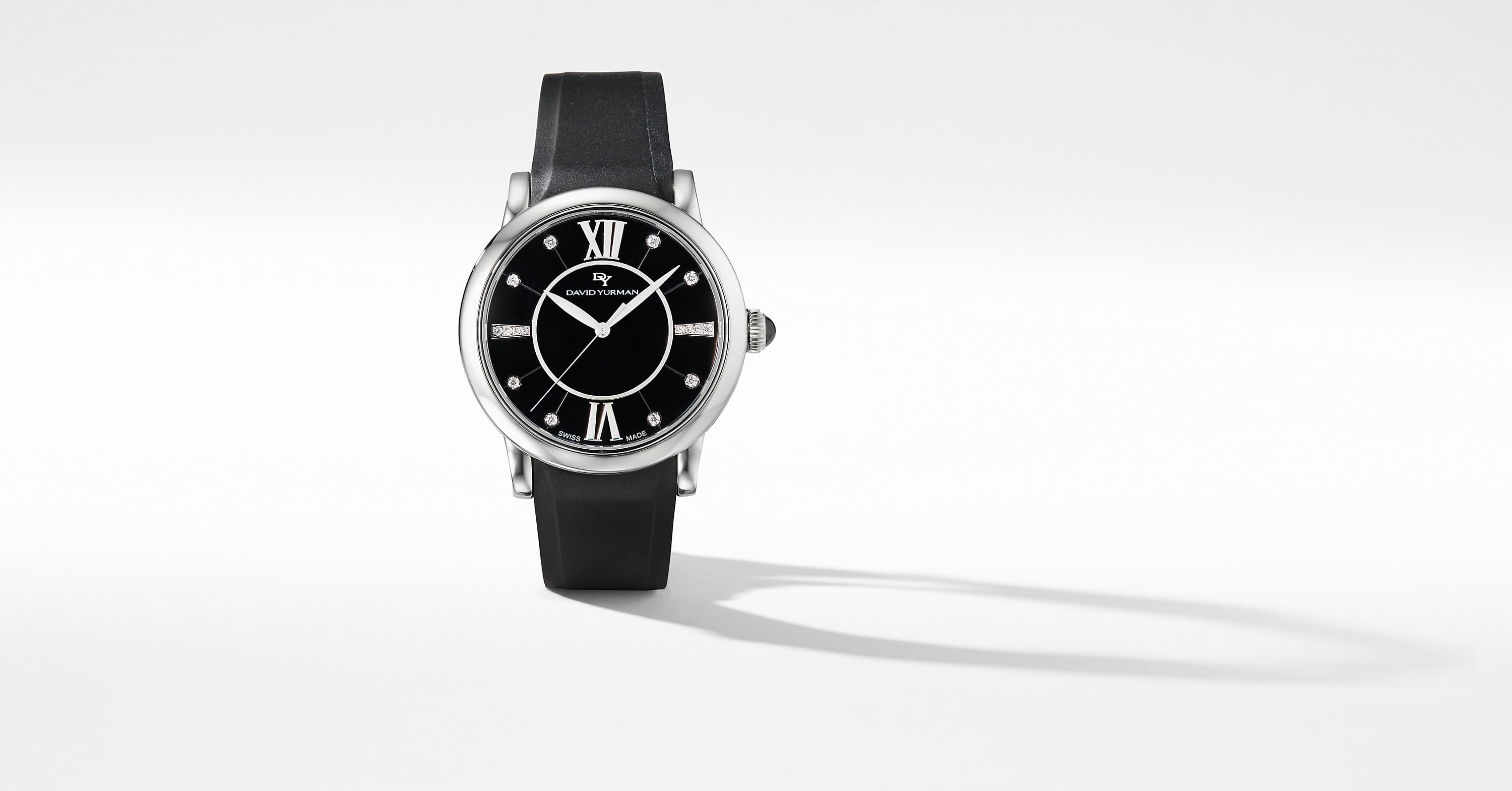 Classic 38mm Quartz Watch with Black Ceramic and Diamonds