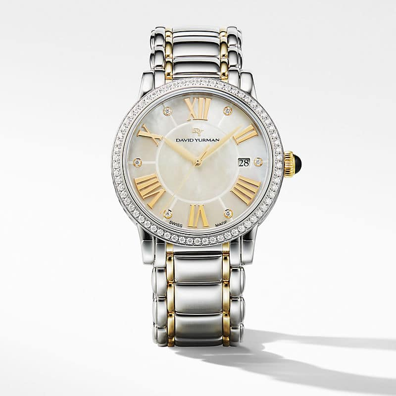 Classic 38mm Quartz Watch with 18K Yellow Gold and Diamonds
