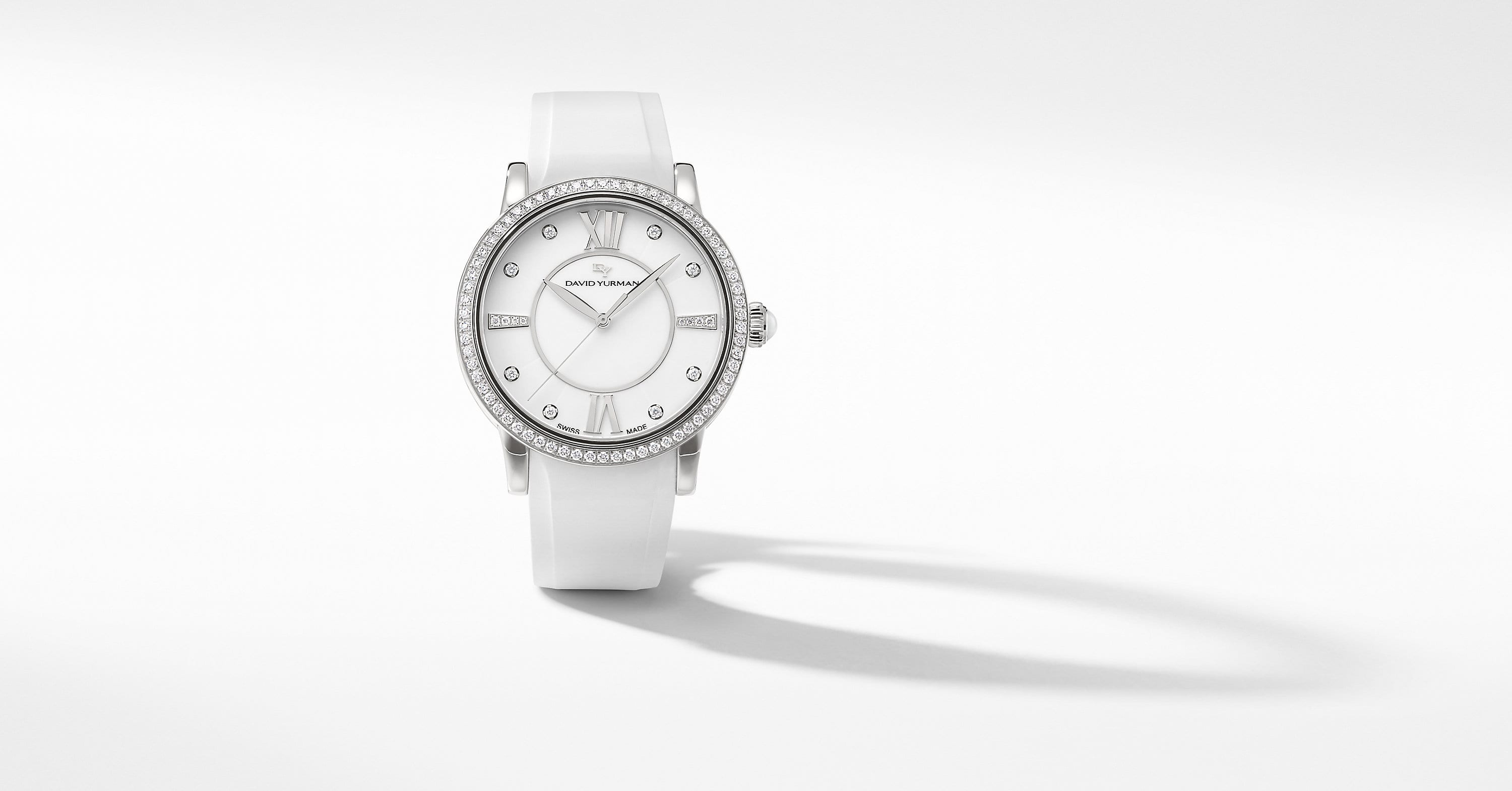 Classic 38mm Quartz Watch with White Ceramic and Diamonds