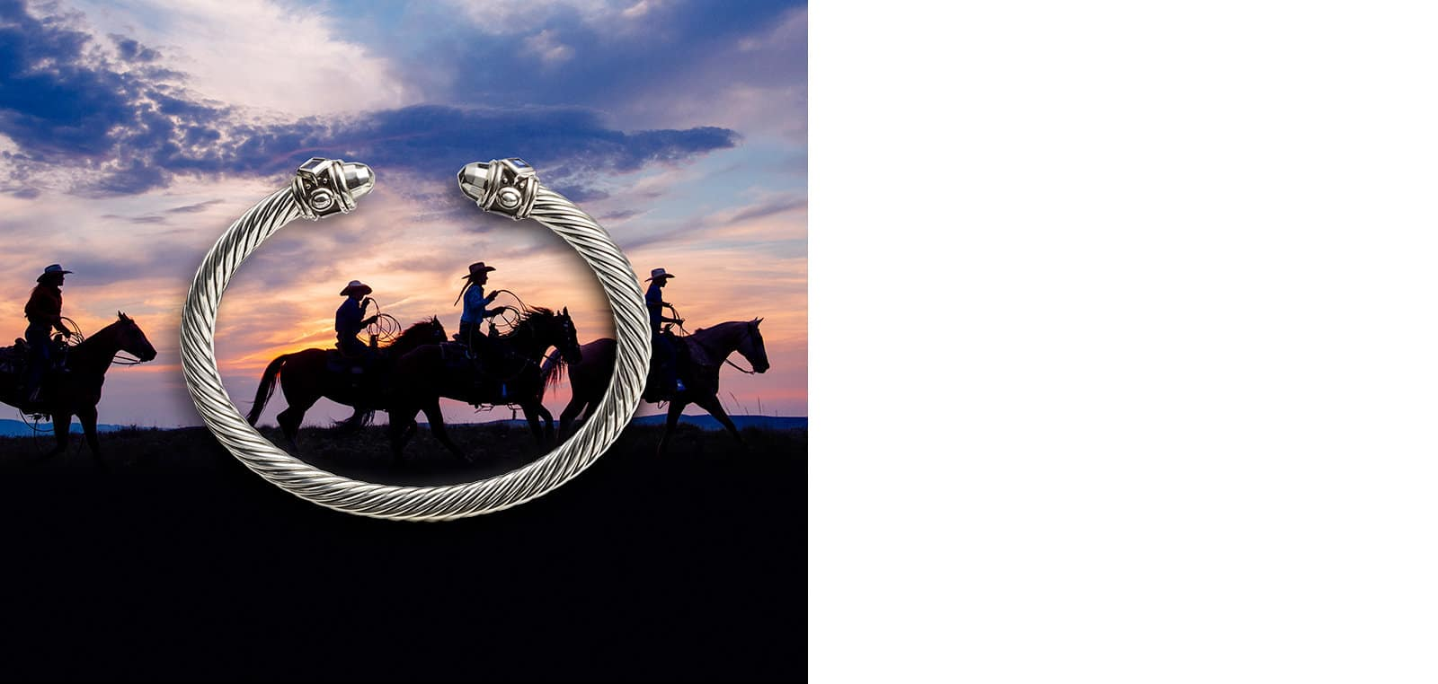 A David Yurman Renaissance Collection bracelet in sterling silver with sapphires atop a photo of cowboys riding horses at sunset.