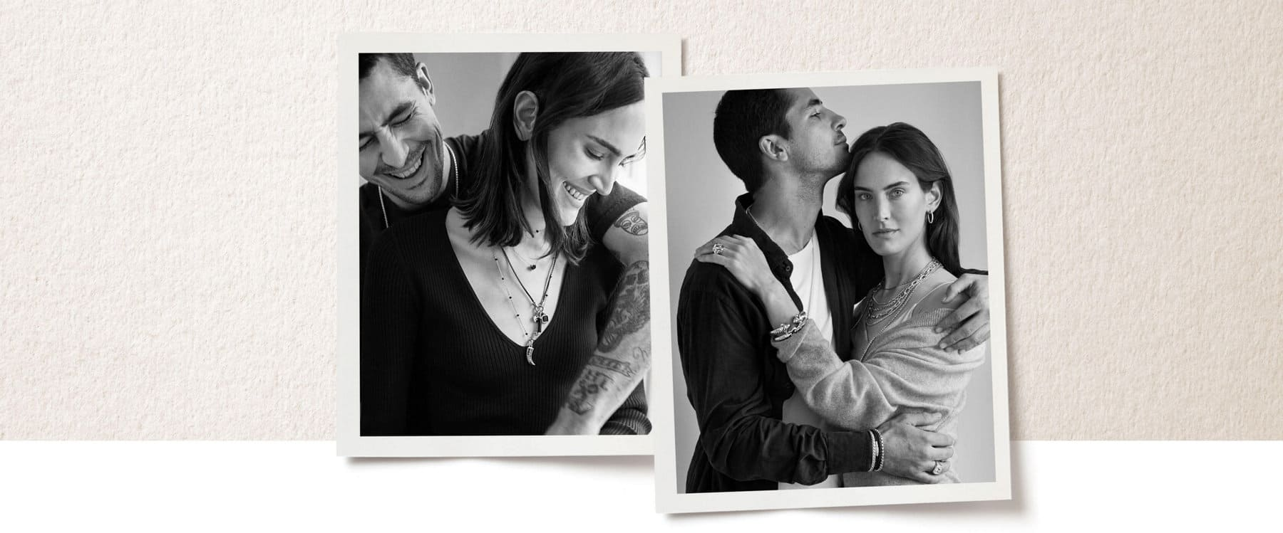 A collage of one color photo and one black-and-white photo is placed in a row on top of a light pink-and-white background. The two photos show Juliette and Miles about to kiss or smiling while wearing various David Yurman jewelry designs. Below the photo collage is a color video featuring Miles and Juliette talking about their relationship.