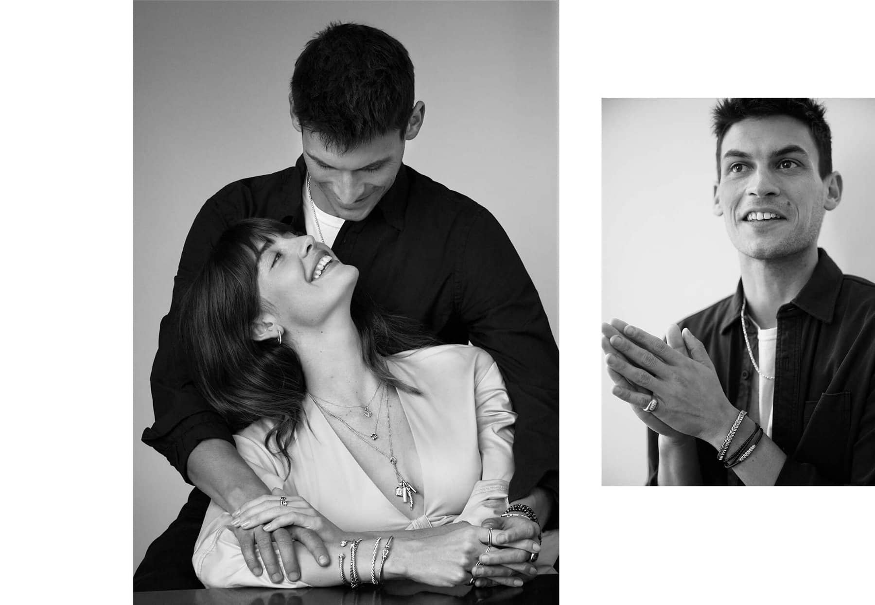 A collage of a color video and two black-and-white photos are arranged in a row on a white background. The video and portraits feature the same male and female model from above wearing various David Yurman jewelry designs.